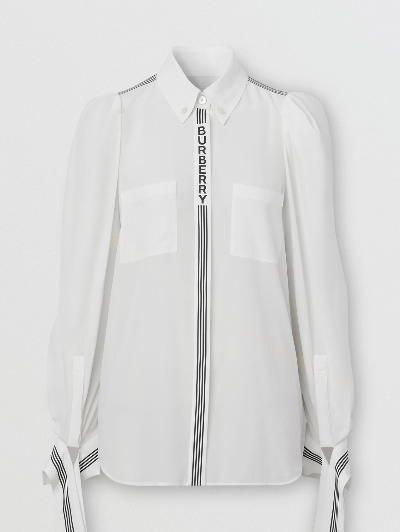 Logo Print Silk Crepe De Chine Shirt in White