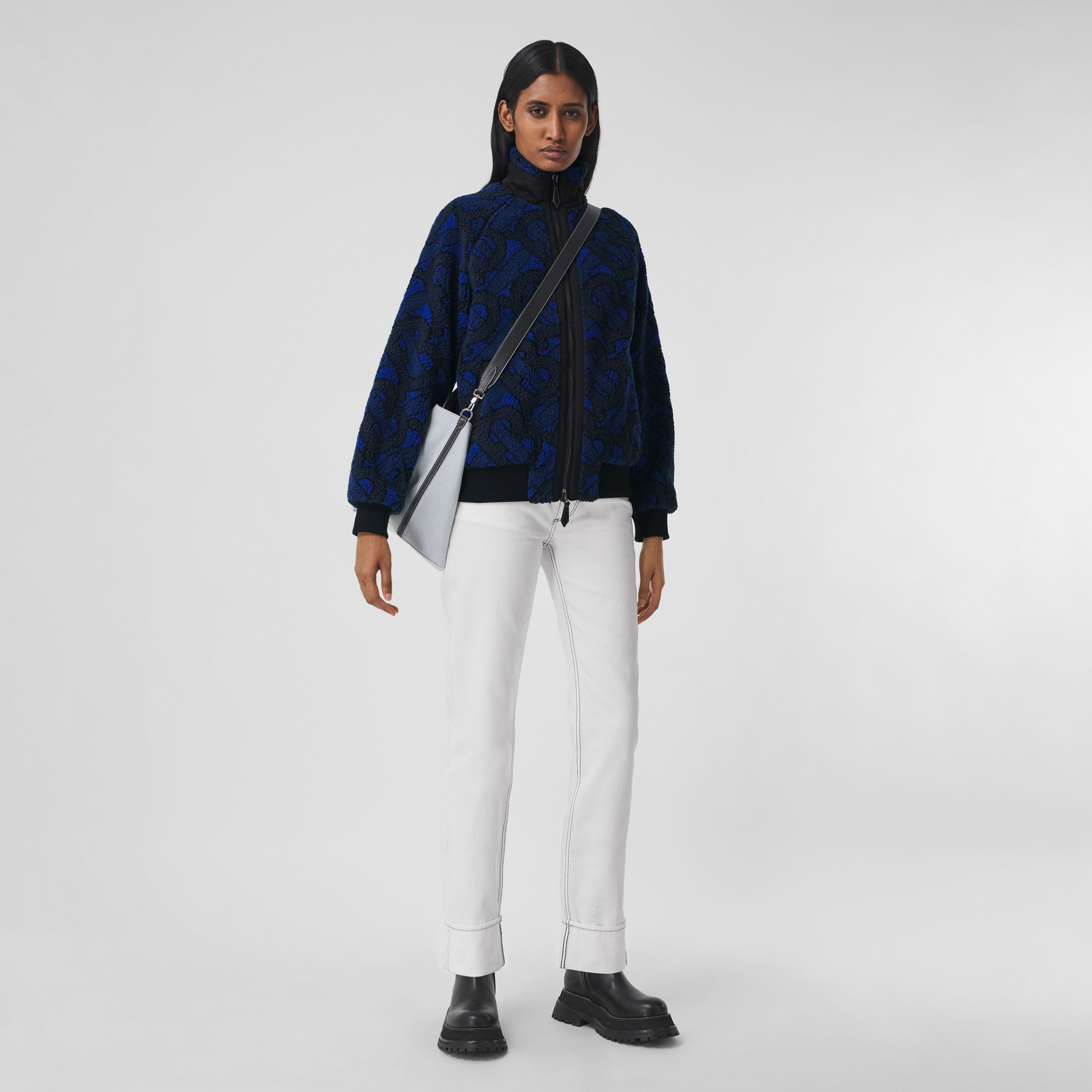Monogram Fleece Jacquard Jacket in Navy - Women | Burberry - 1