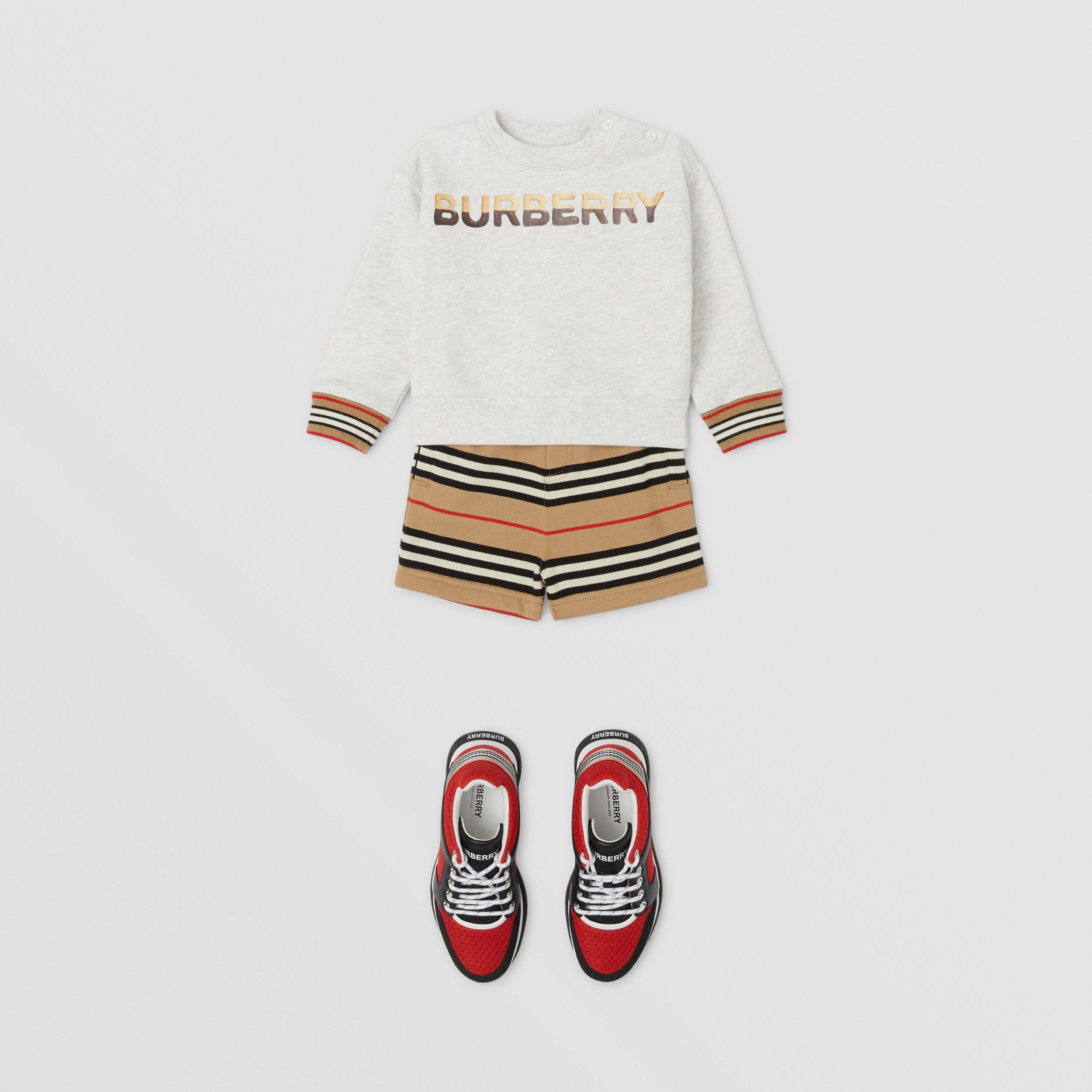 Icon Stripe Cotton Shorts in Archive Beige - Children | Burberry United Kingdom - 3