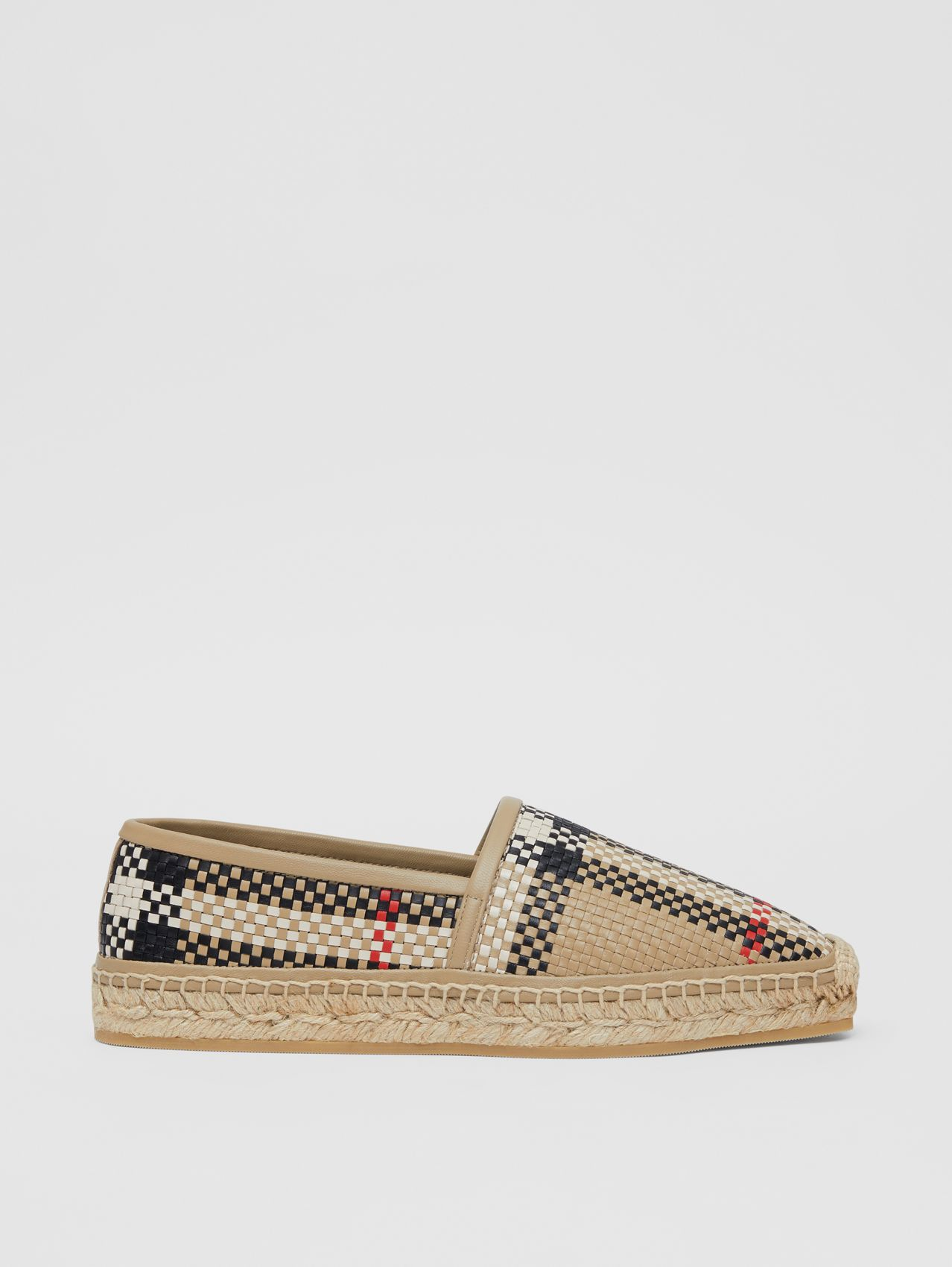 Latticed Leather Espadrilles (Archive Beige)