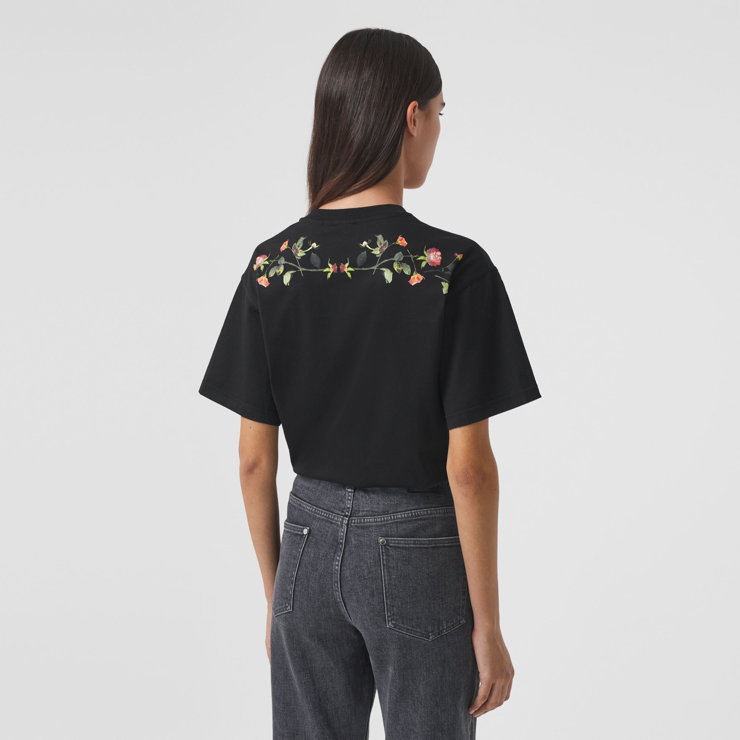 Rose Print Cotton Oversized T-shirt in Black - Women | Burberry - 3