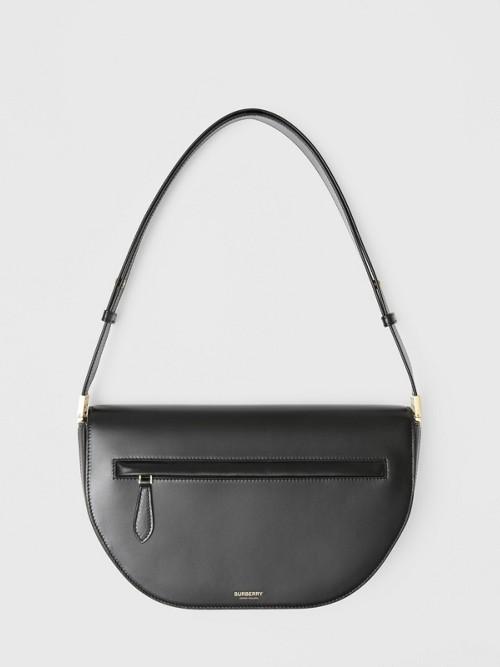Burberry Medium Leather Olympia Bag In Black