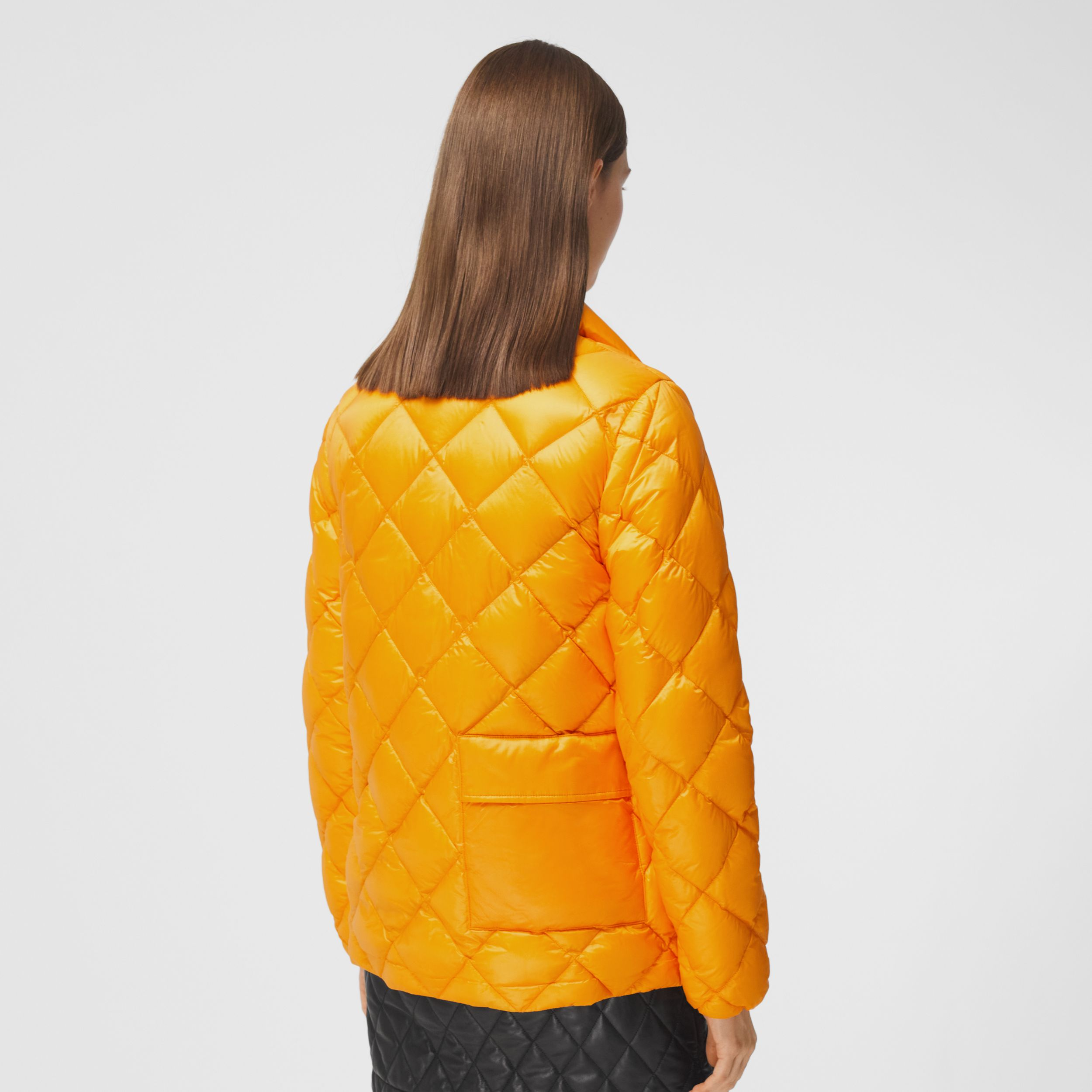 Diamond Quilted Down-filled Jacket in Citrus Orange - Women | Burberry - 3
