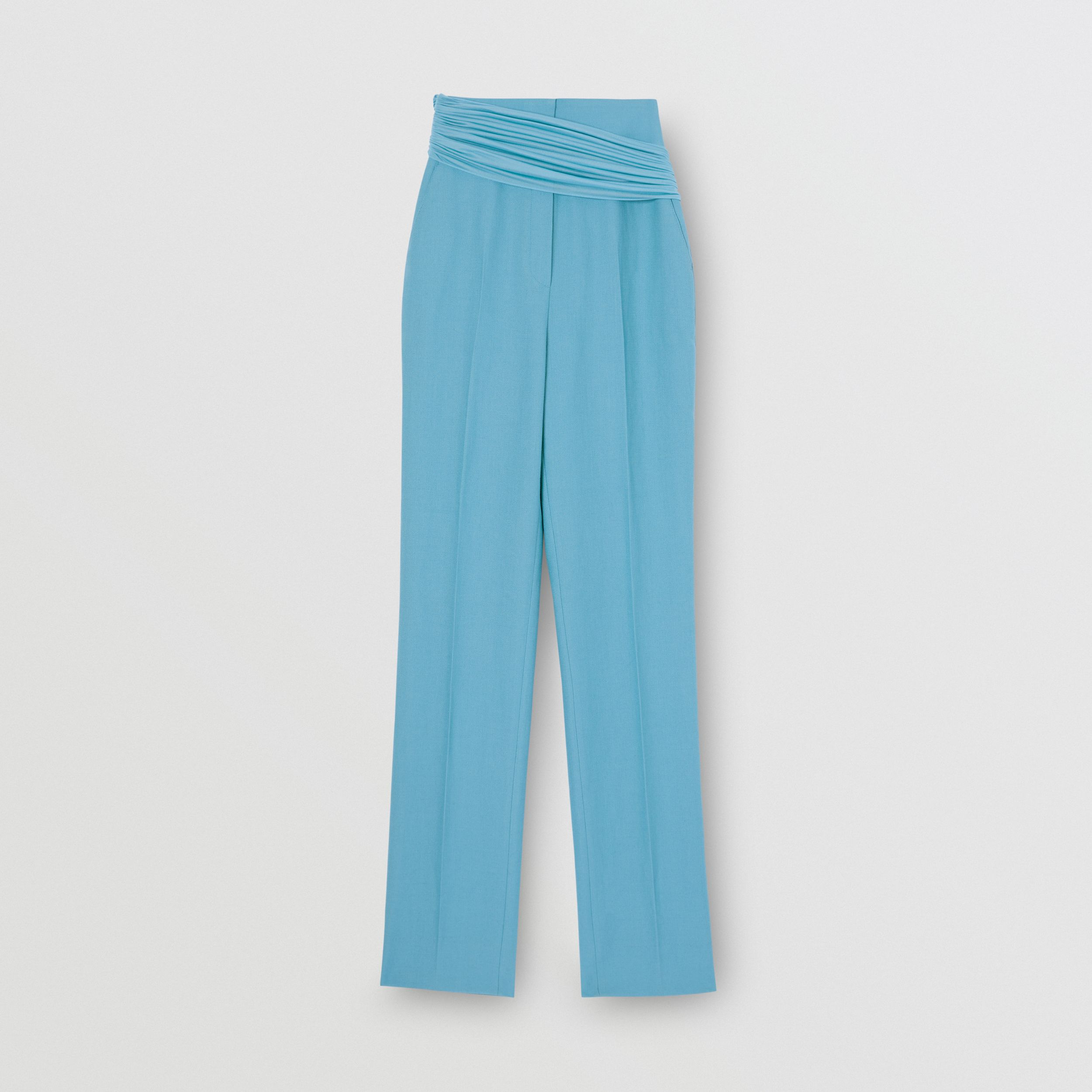 Jersey Sash Detail Wool Ramie Tailored Trousers in Blue Topaz - Women | Burberry - 4