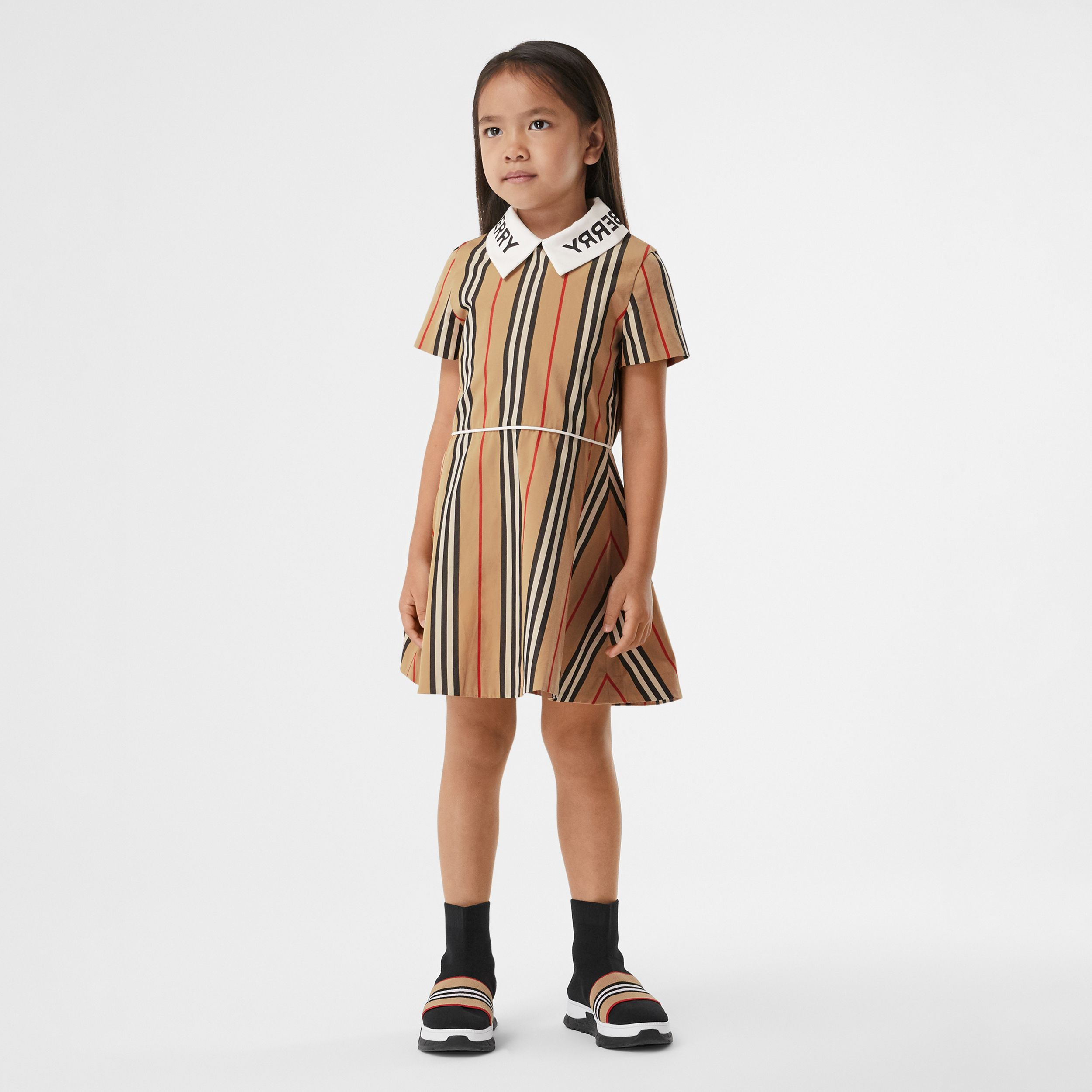 Logo Print Icon Stripe Cotton Poplin Dress in Archive Beige | Burberry Hong Kong S.A.R. - 2