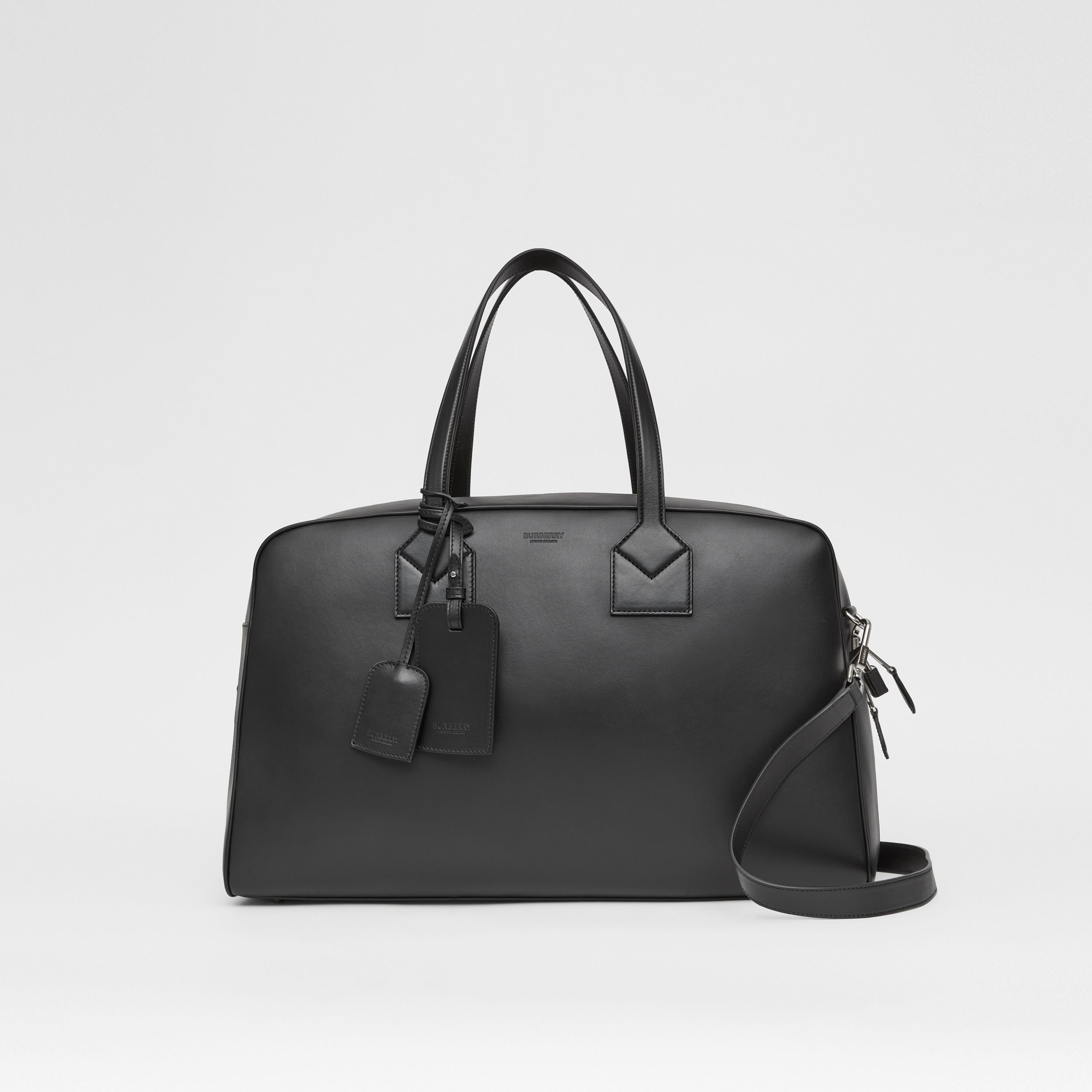 Icon Stripe Print Leather Cube Holdall in Black - Men | Burberry - 1