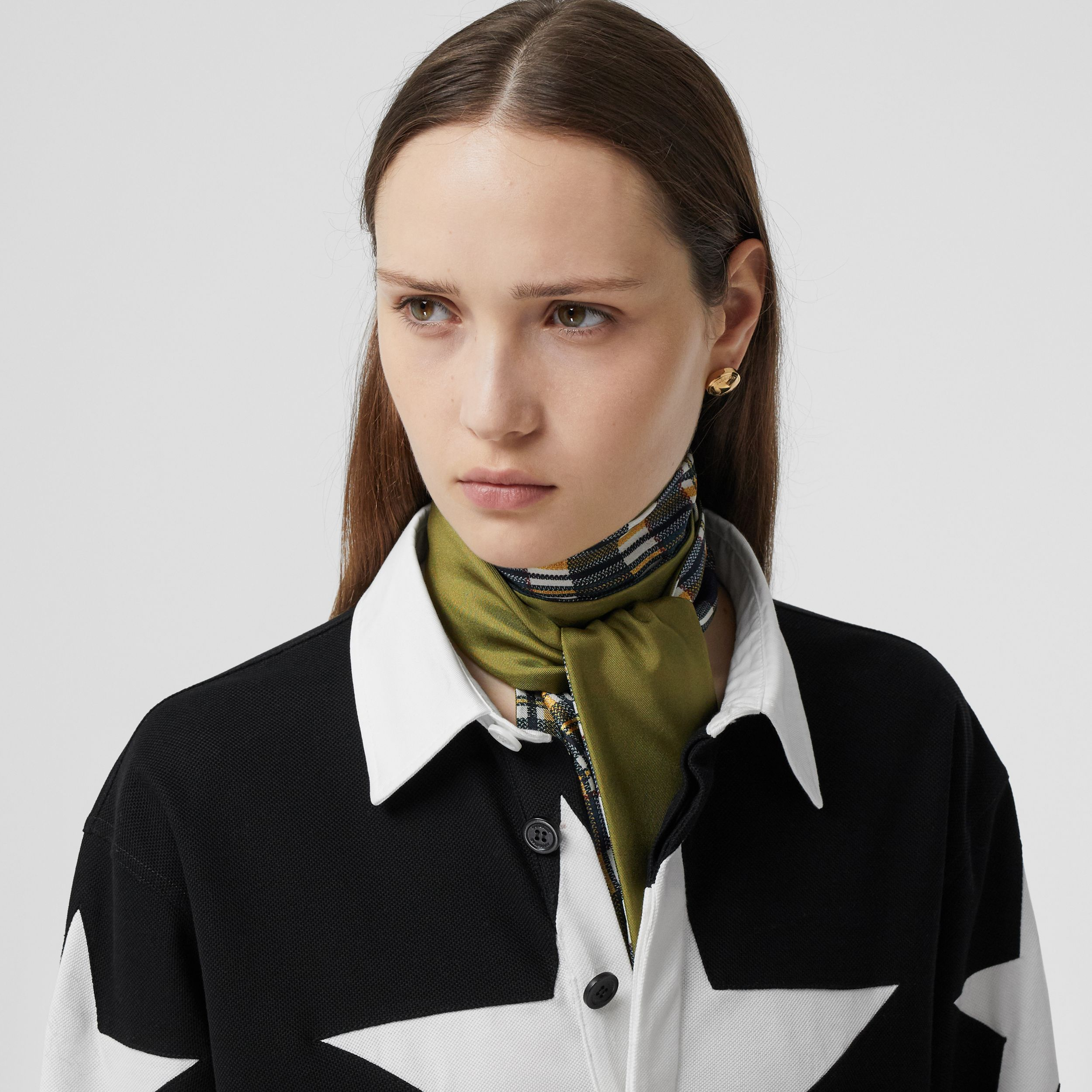 Check and Logo Print Silk Skinny Scarf in Juniper Green | Burberry - 3