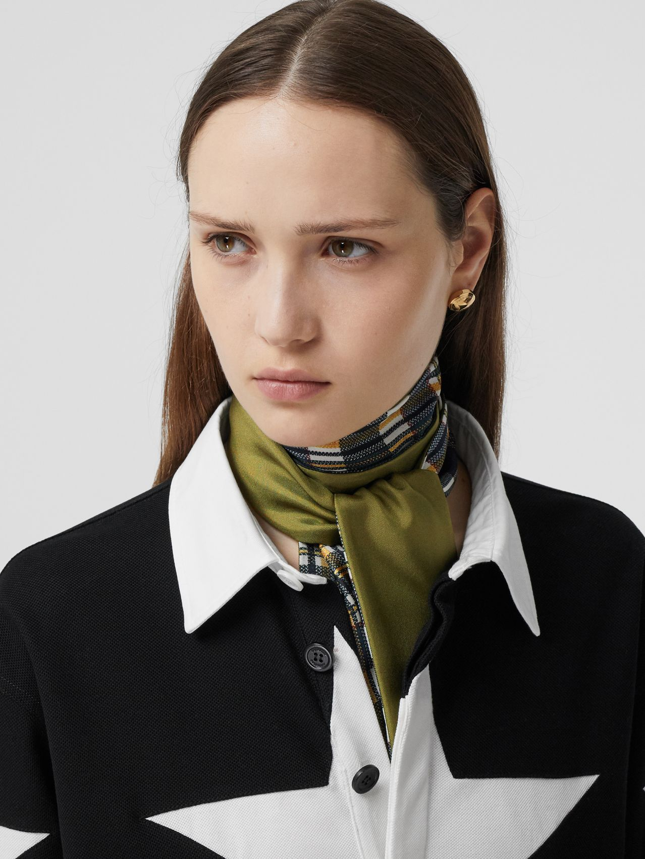 Check and Logo Print Silk Skinny Scarf in Juniper Green