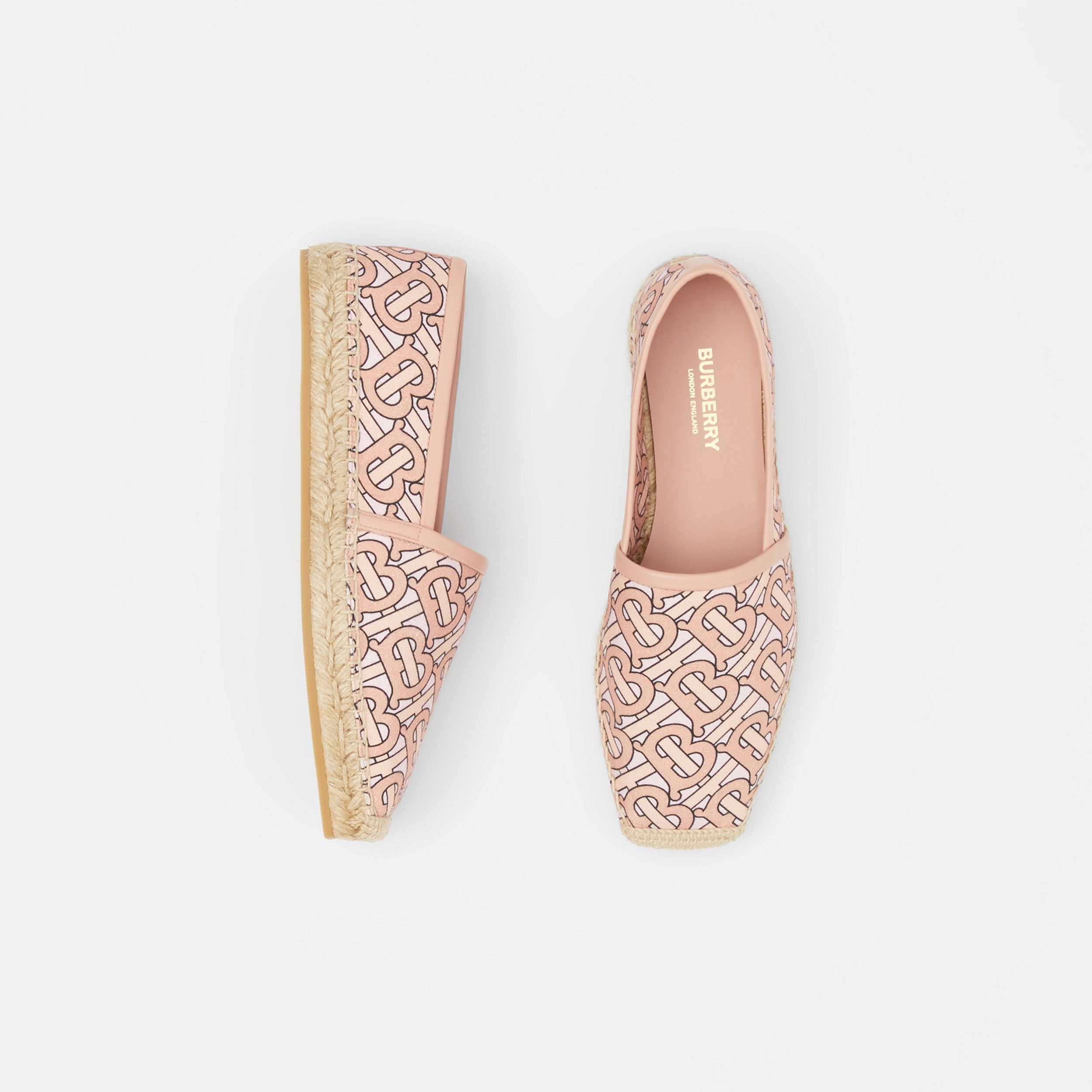 Monogram Print Cotton Canvas Espadrilles in Pale Copper Pink - Women | Burberry Canada - 1