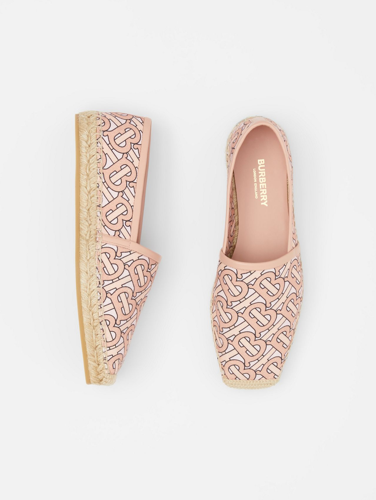 Monogram Print Cotton Canvas Espadrilles in Pale Copper Pink