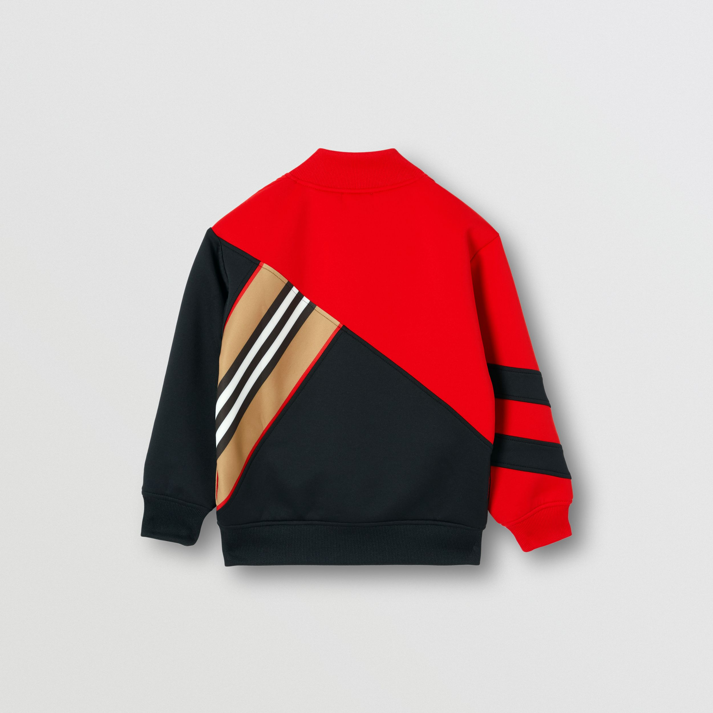 Icon Stripe Detail Stretch Jersey Track Top in Bright Red | Burberry - 3