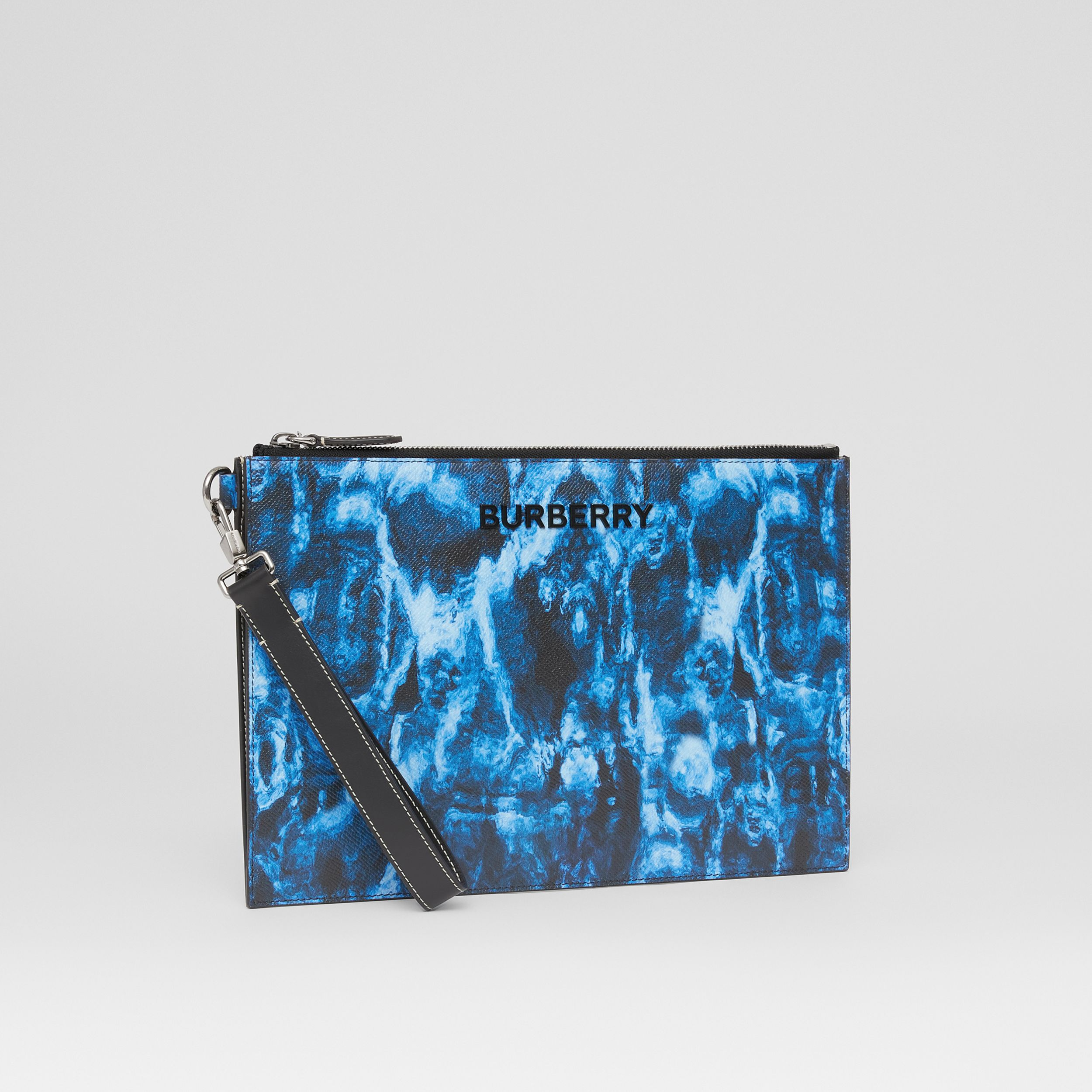 Ripple Print Leather Zip Pouch in Midnight Navy | Burberry United Kingdom - 4