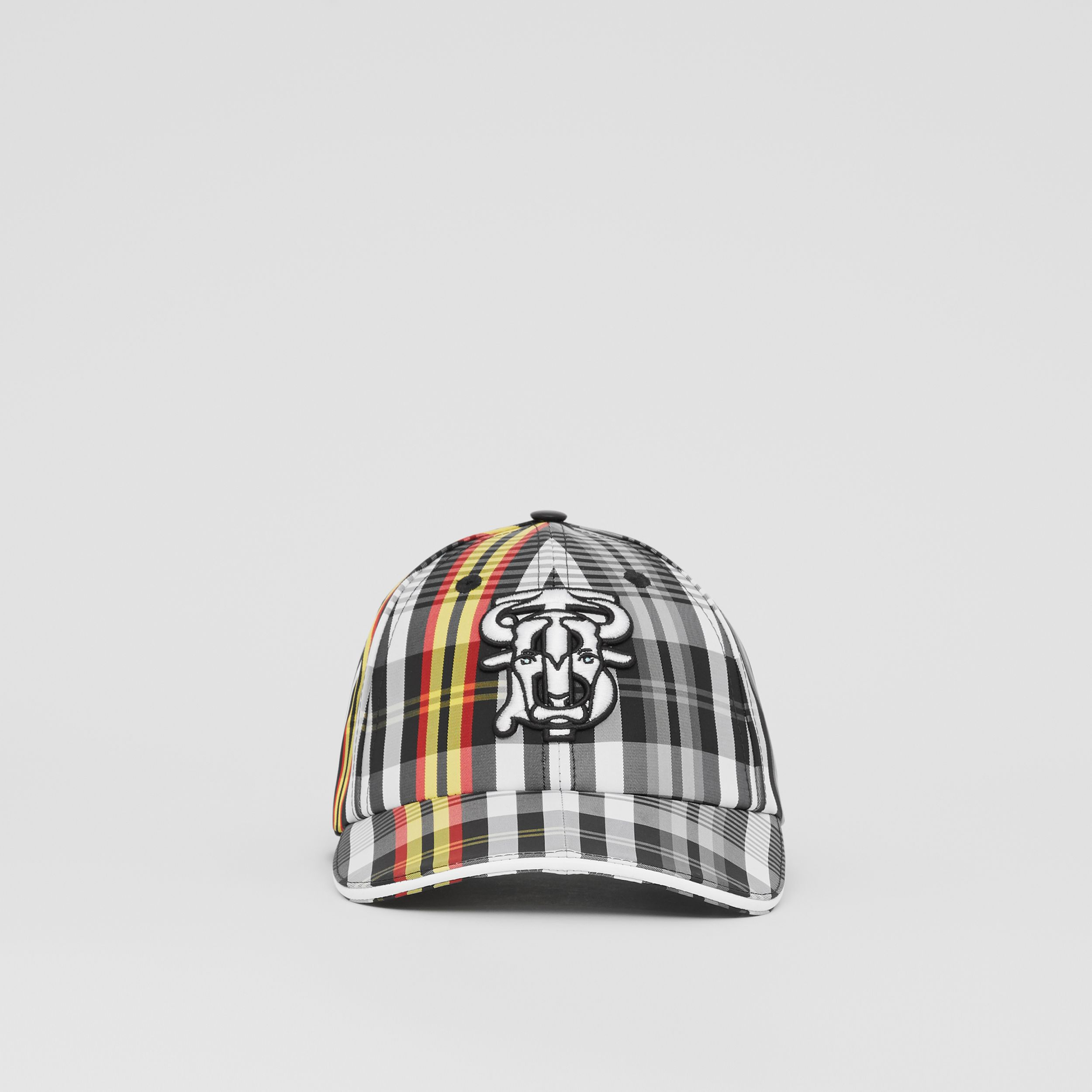 Monogram Motif Check Nylon Baseball Cap in Grey | Burberry - 1
