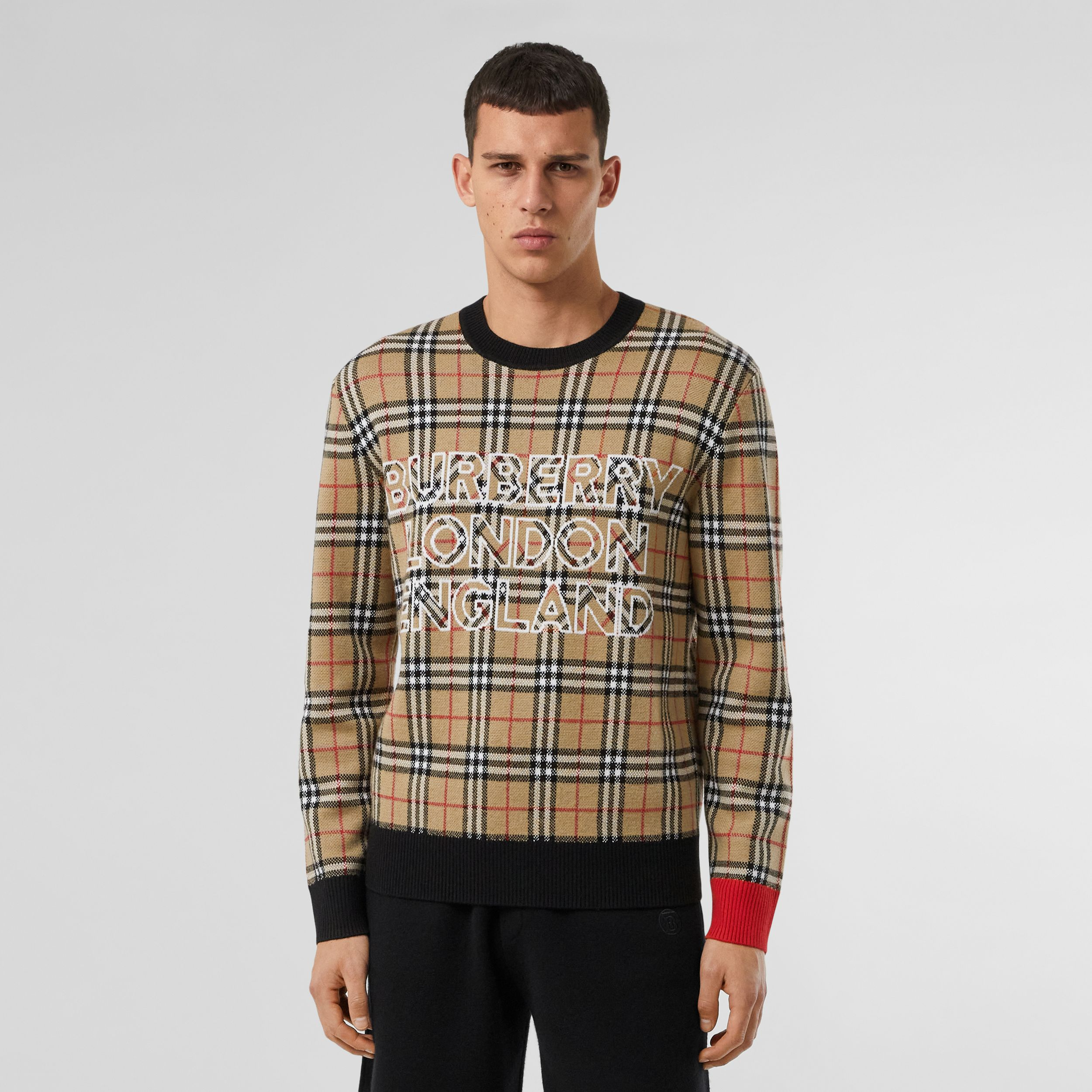 Logo Check Wool Cotton Jacquard Sweater in Archive Beige - Men | Burberry - 1