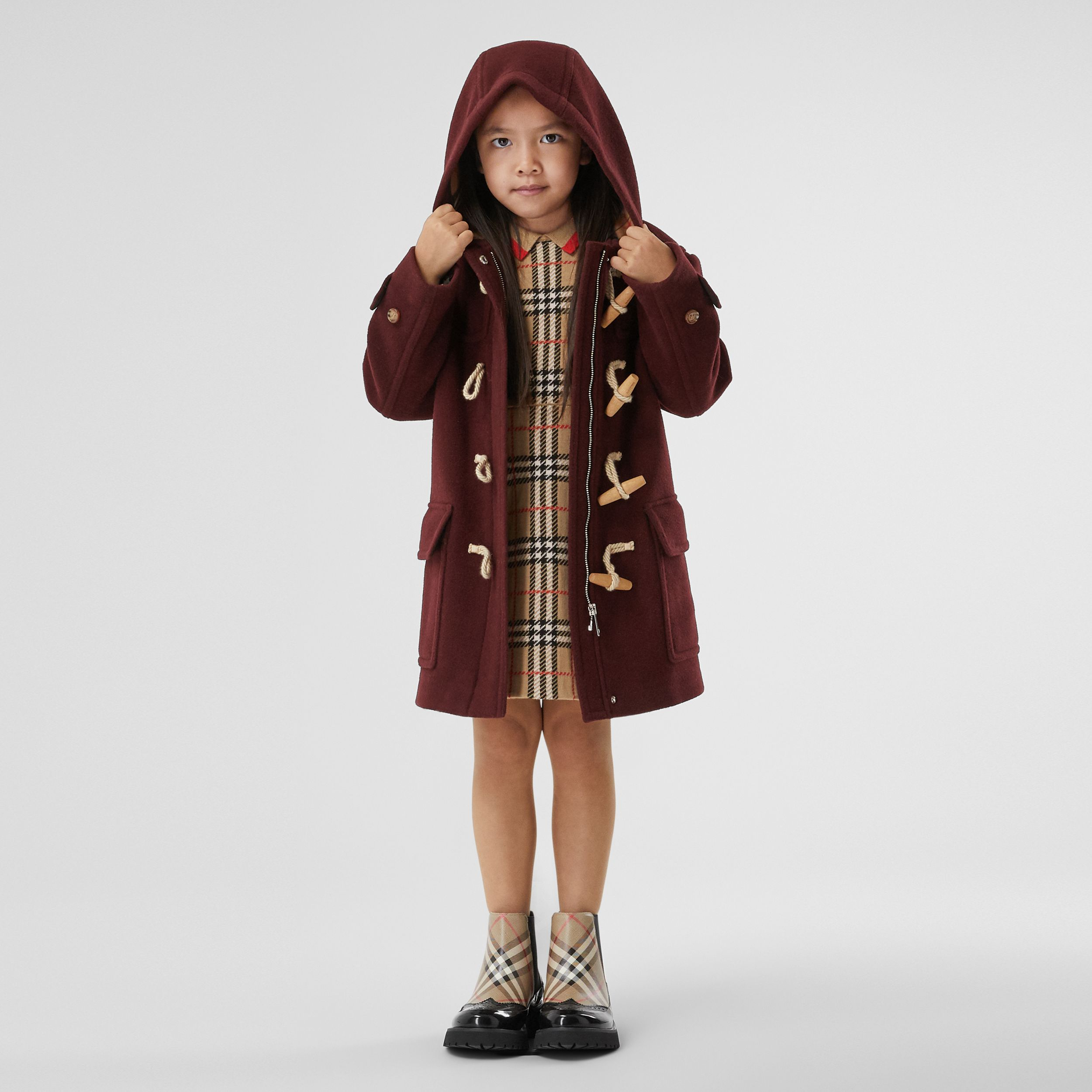Double-faced Wool Duffle Coat in Burgundy | Burberry Singapore - 3