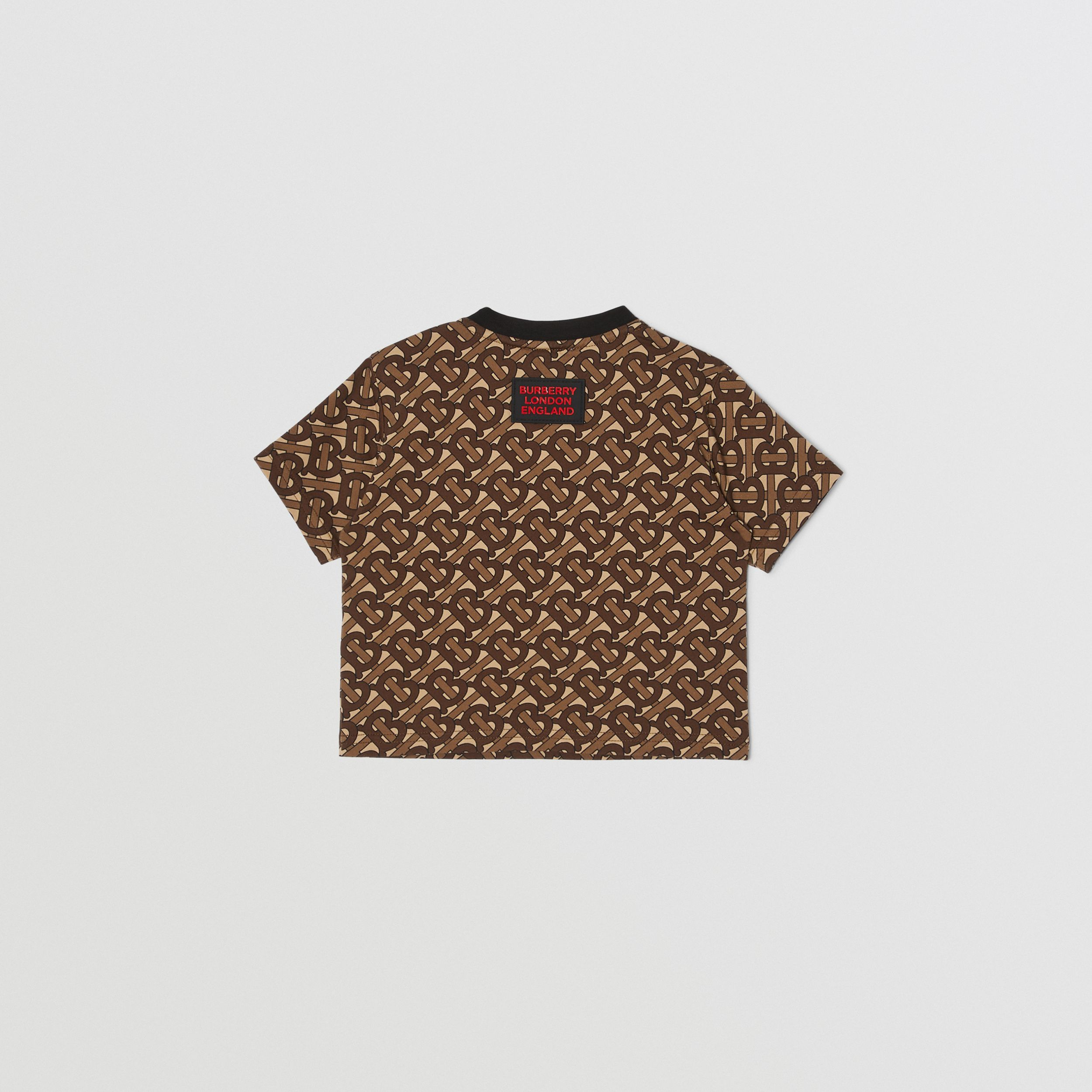 Monogram Stripe Print Cotton T-shirt in Bridle Brown - Children | Burberry - 4