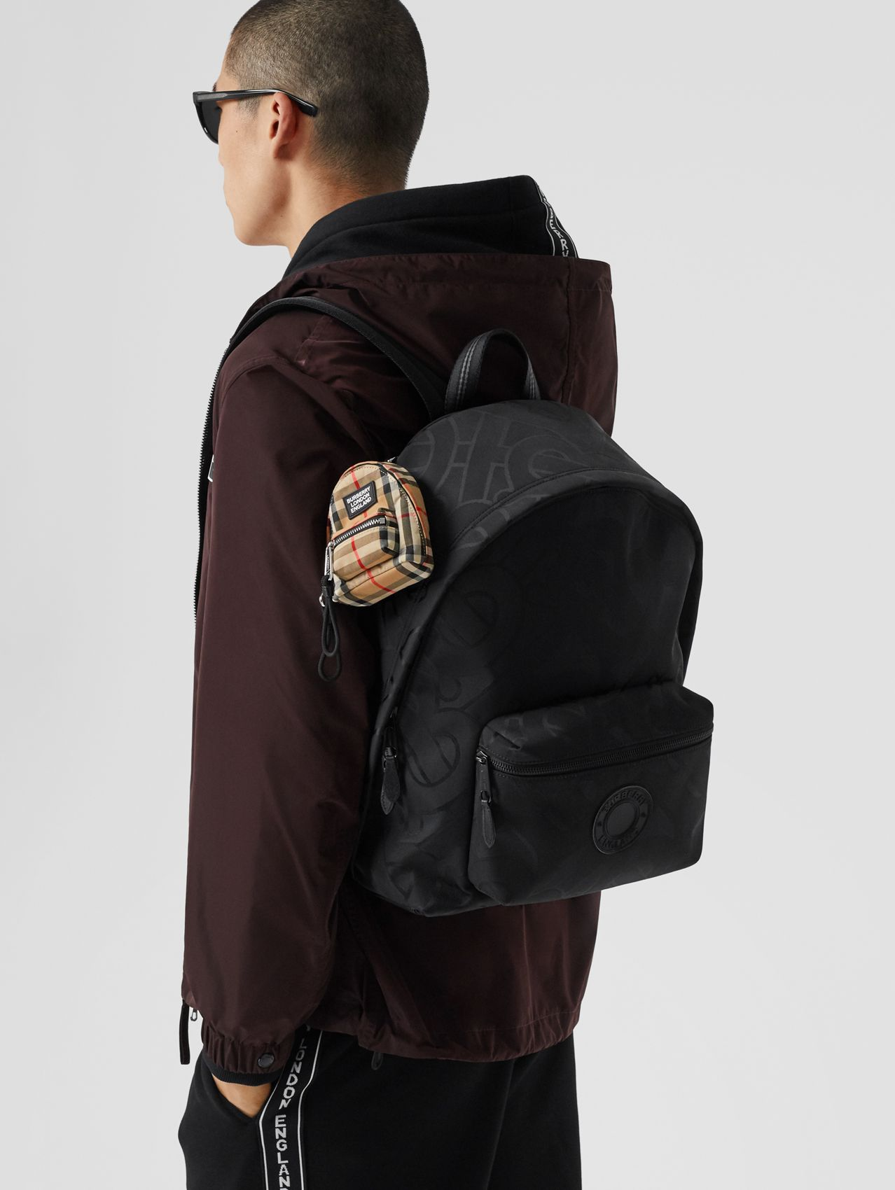 Monogram Recycled Polyester Jacquard Backpack in Black