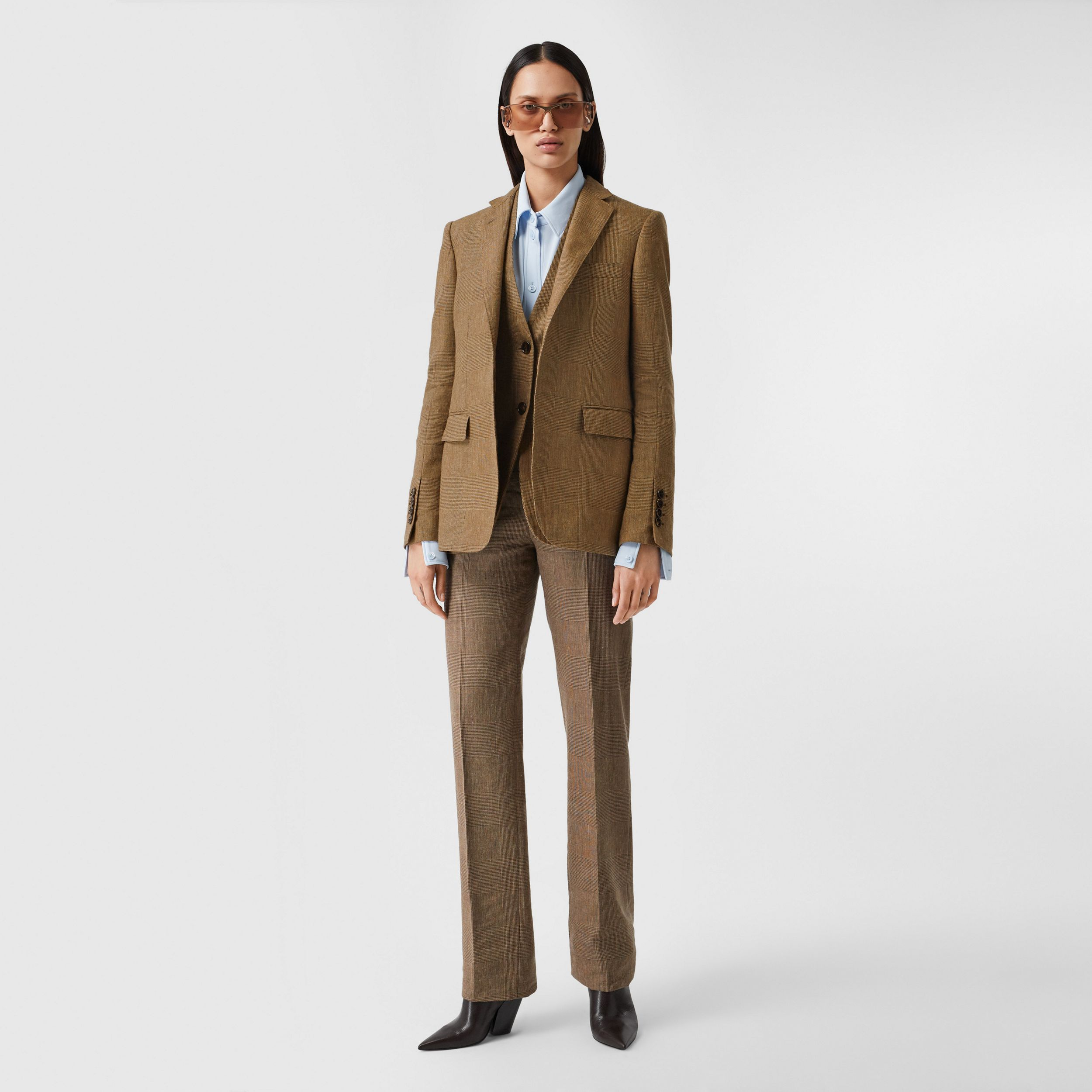 Linen Wool Cashmere Reconstructed Tailored Jacket in Brown - Women | Burberry - 1