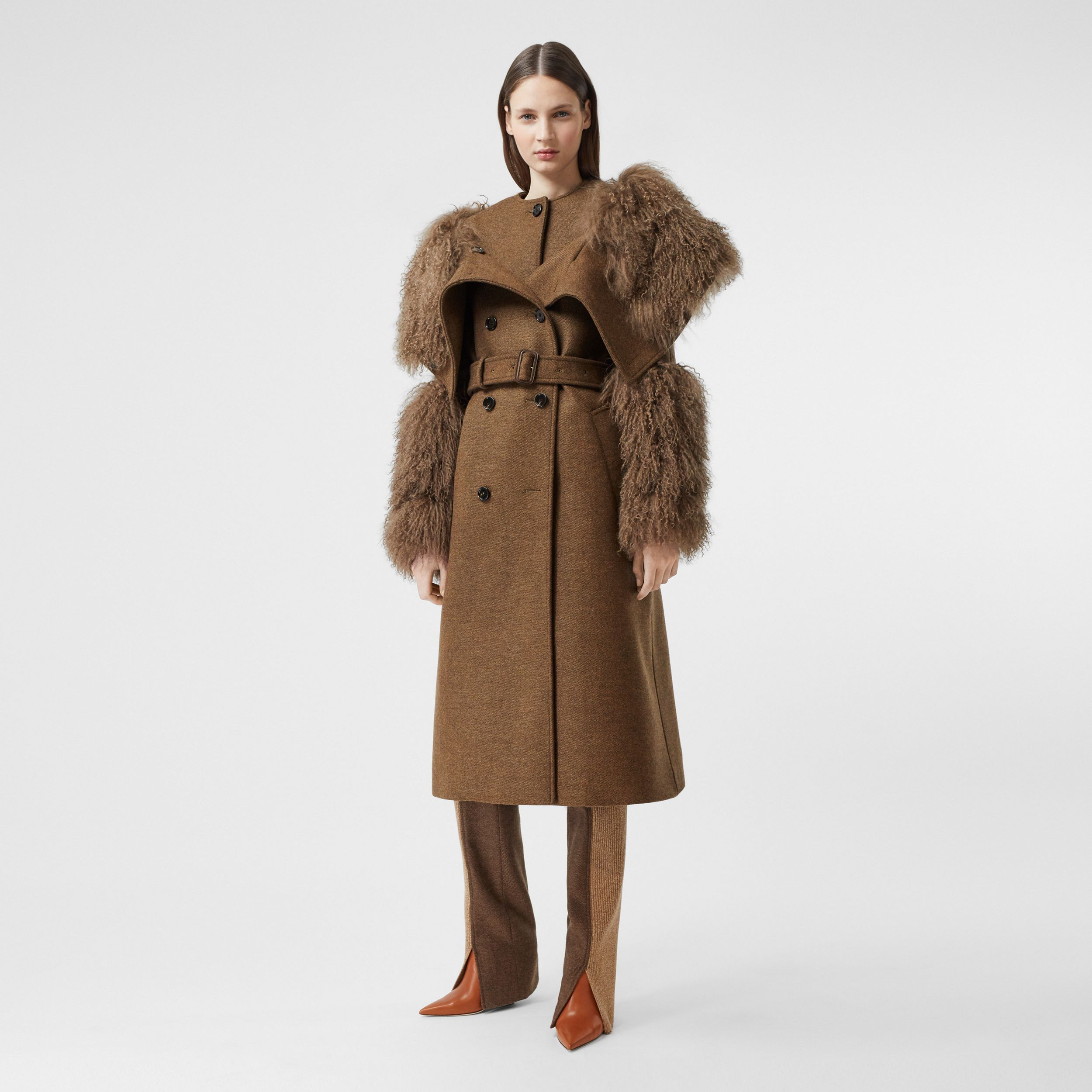 Shearling Trim Wool Cashmere Trench Coat in Dark Mahogany - Women | Burberry - 1