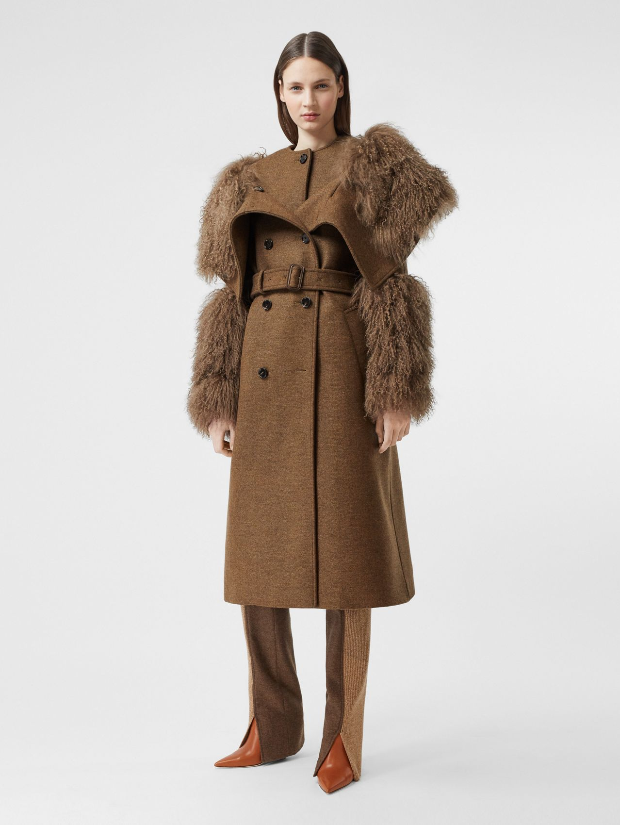 Shearling Trim Wool Cashmere Trench Coat in Dark Mahogany