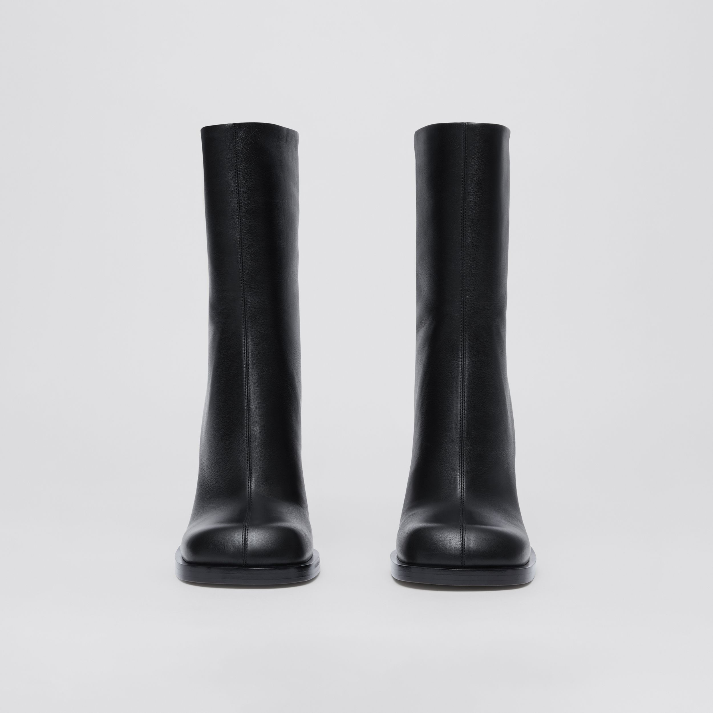 Vintage Check-lined Leather Ankle Boots in Black - Women | Burberry - 4
