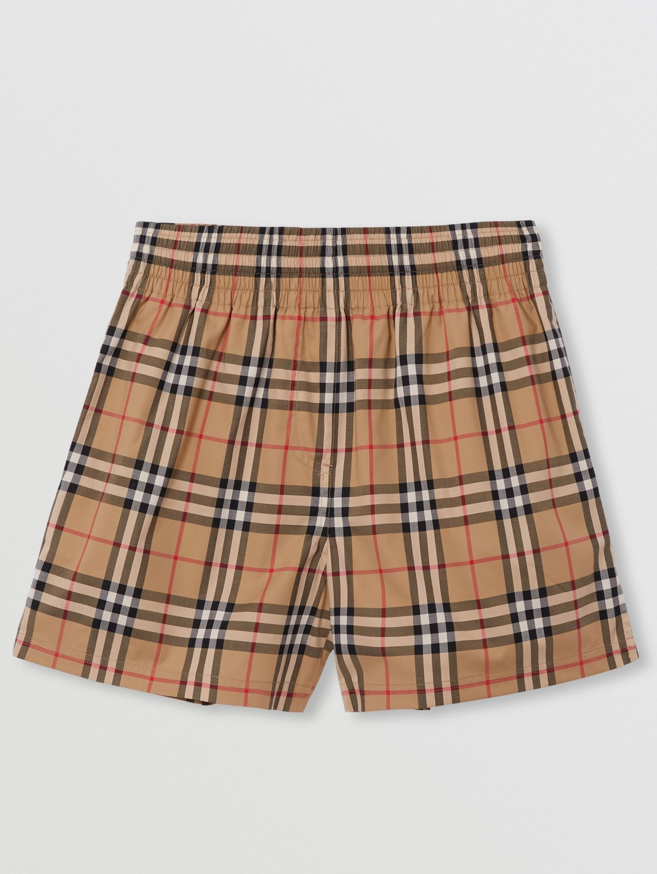Side Stripe Vintage Check Stretch Cotton Shorts in Archive Beige