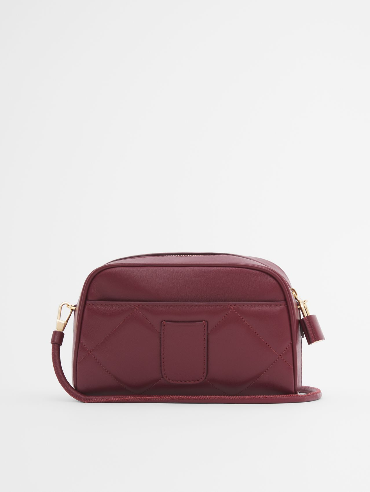 Two-tone Lambskin Half Cube Crossbody Bag in Garnet