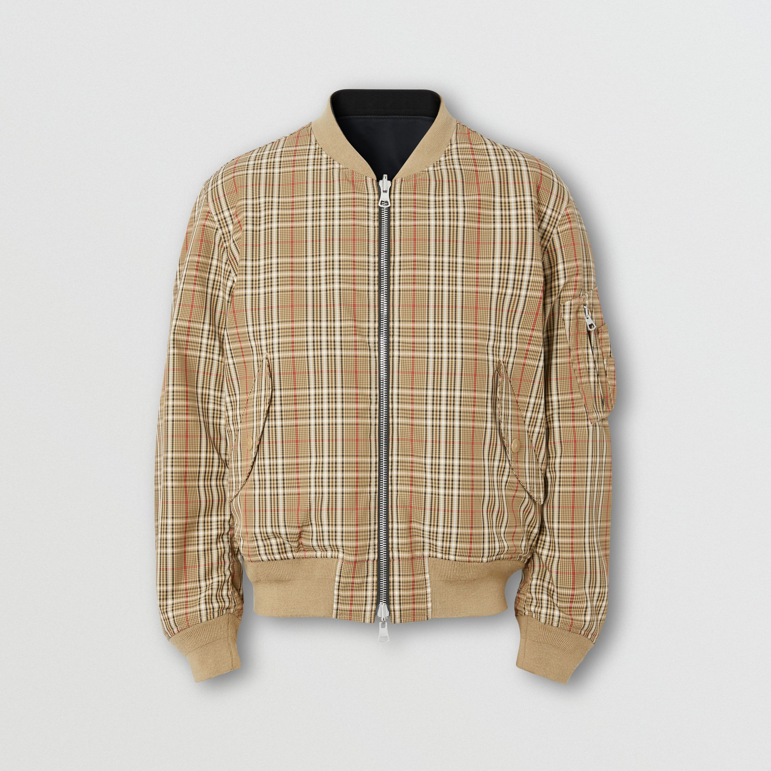 Reversible Check Technical Cotton Bomber Jacket in Soft Fawn - Men | Burberry - 4