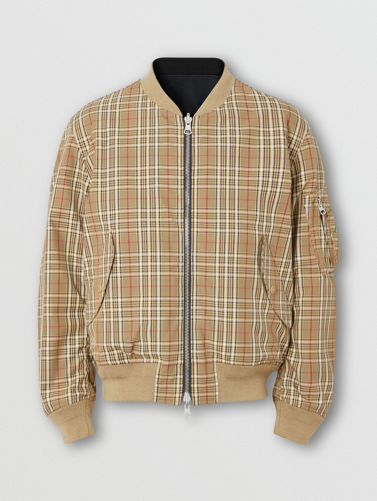Reversible Check Technical Cotton Bomber Jacket in Soft Fawn