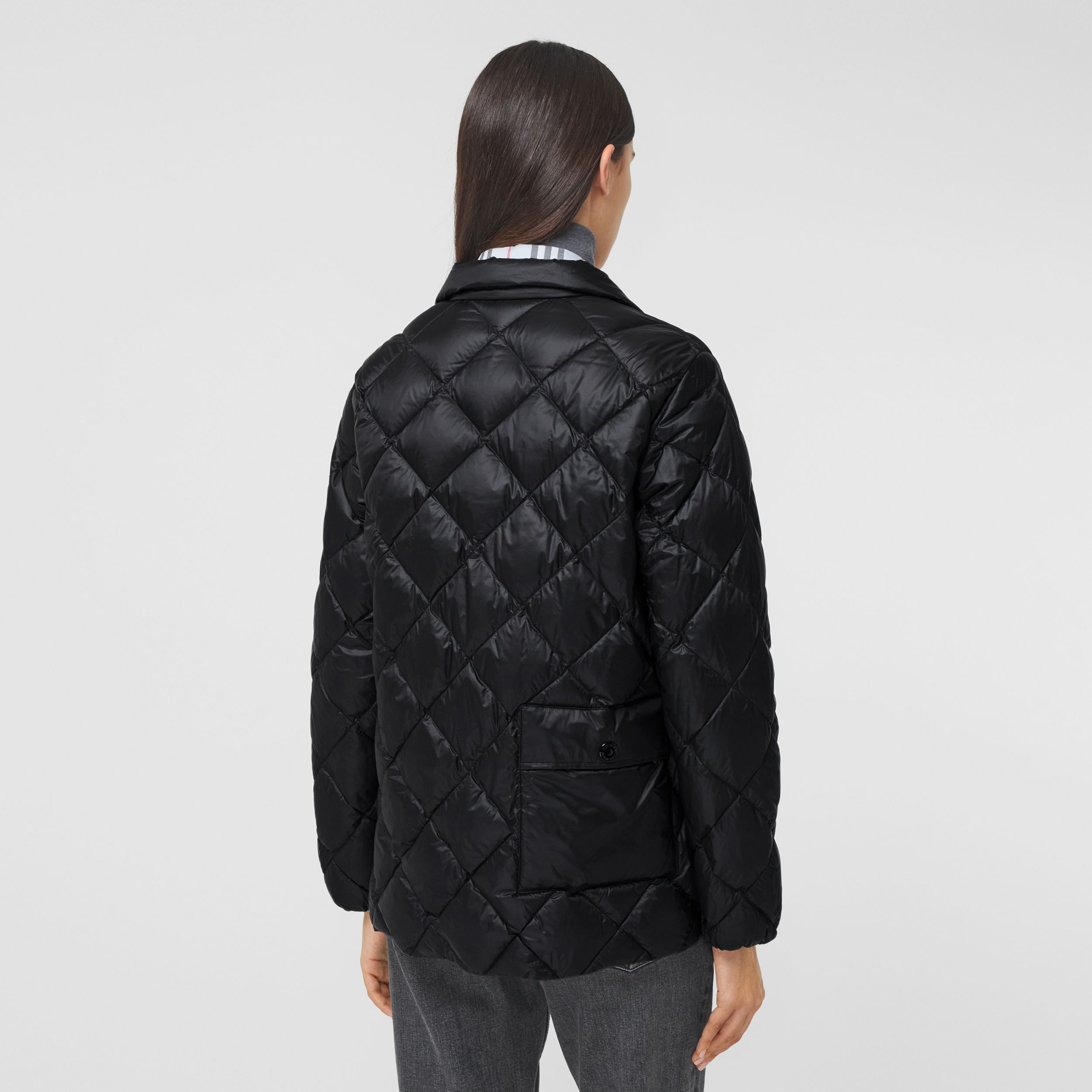 Diamond Quilted Down-filled Jacket in Black - Women | Burberry Australia - 3