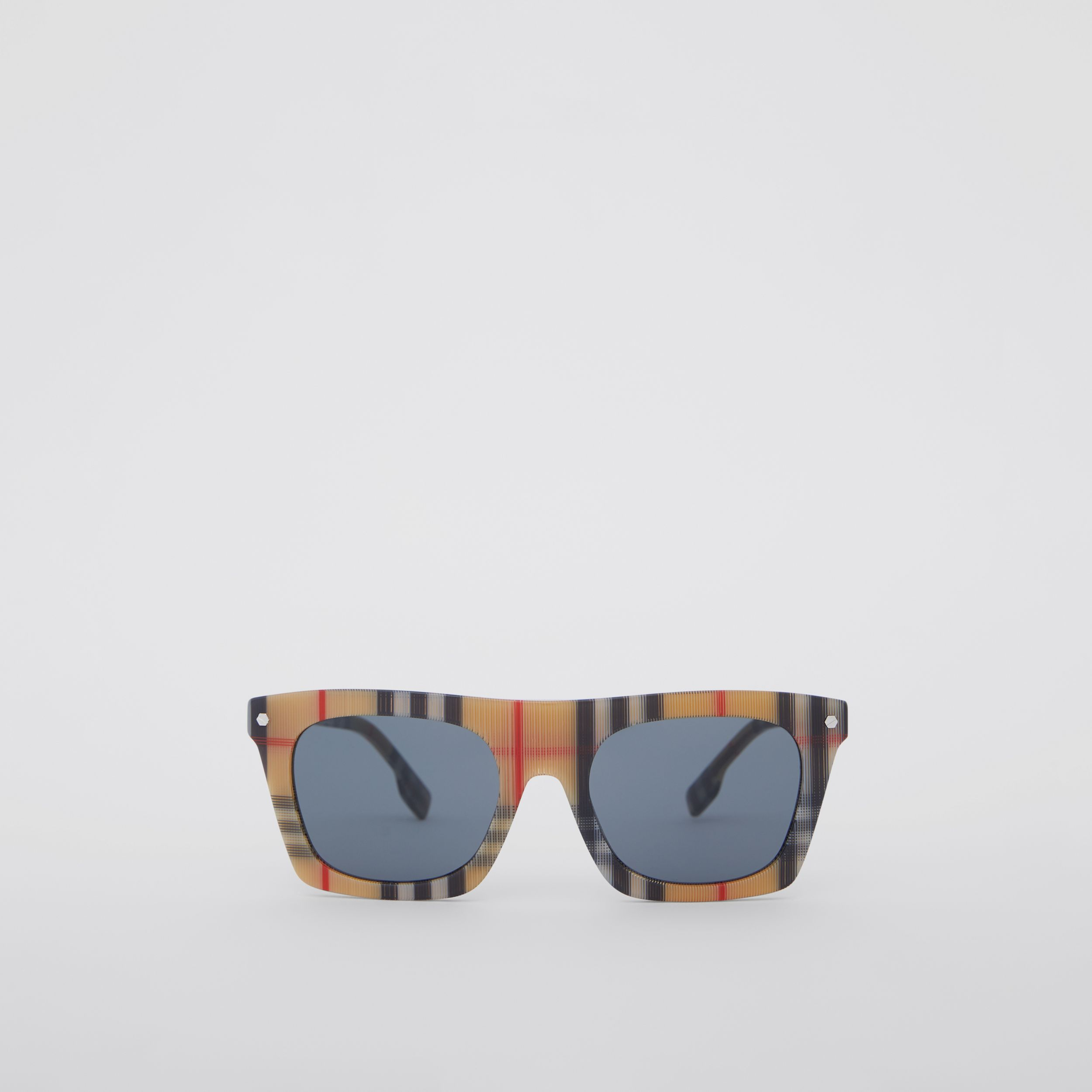 Vintage Check Rectangular Frame Sunglasses in Antique Yellow - Men | Burberry Singapore - 1