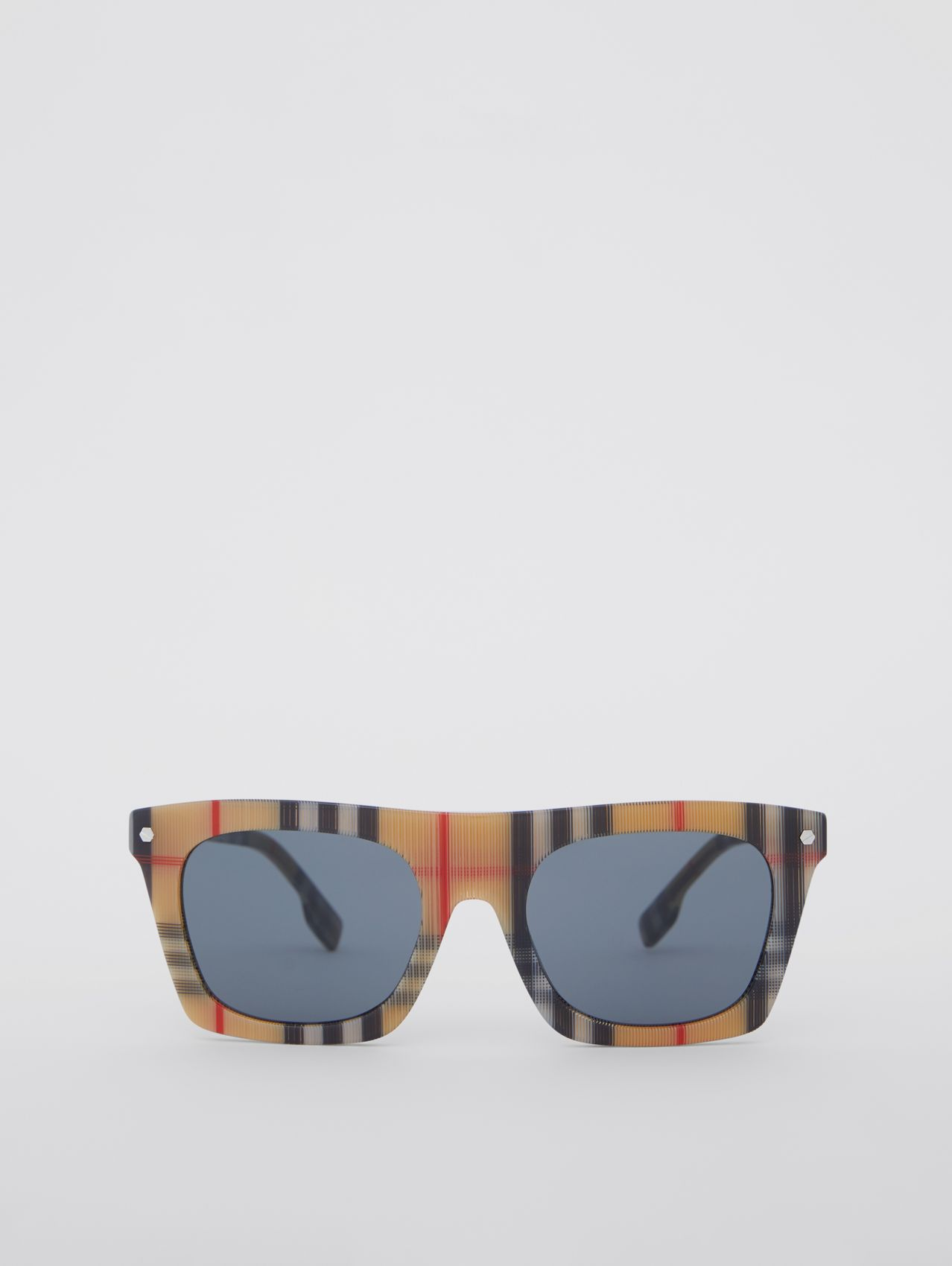 Vintage Check Rectangular Frame Sunglasses in Antique Yellow