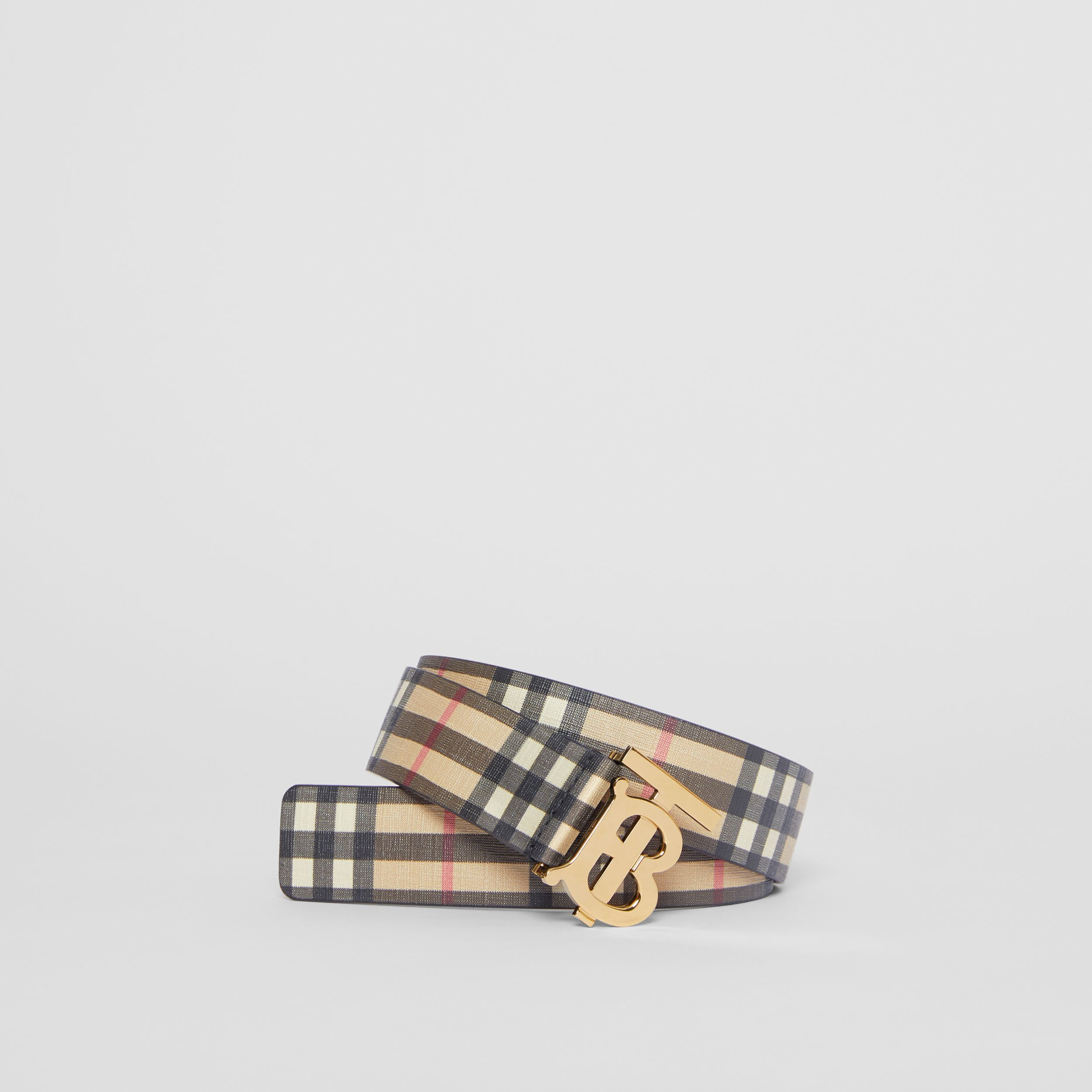 Monogram Motif Vintage Check E-canvas Belt in Archive Beige - Women | Burberry Hong Kong S.A.R. - 1