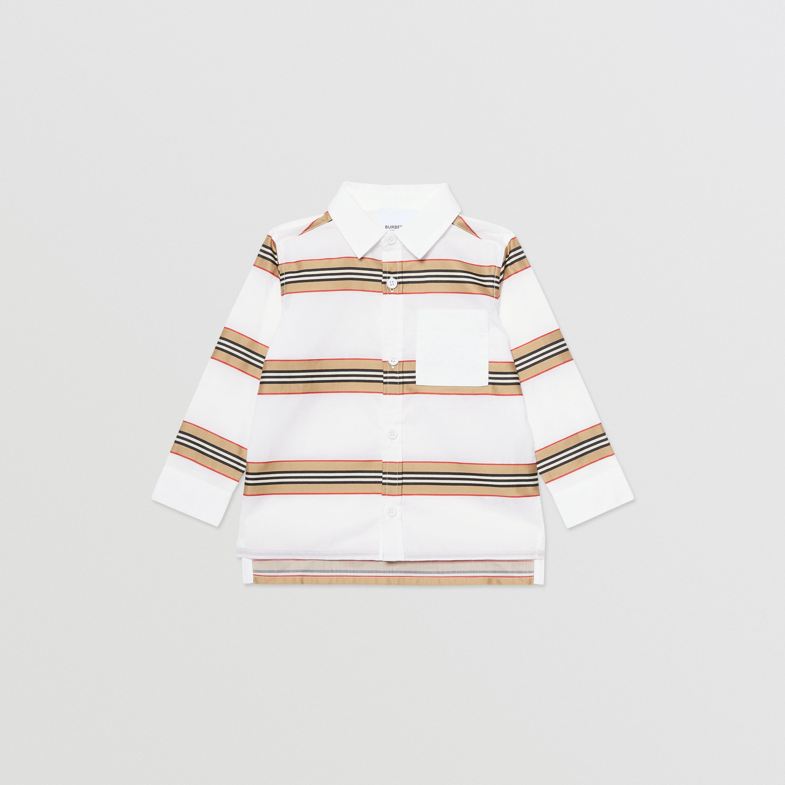Embroidered Logo Icon Stripe Cotton Shirt in White - Children | Burberry - 1