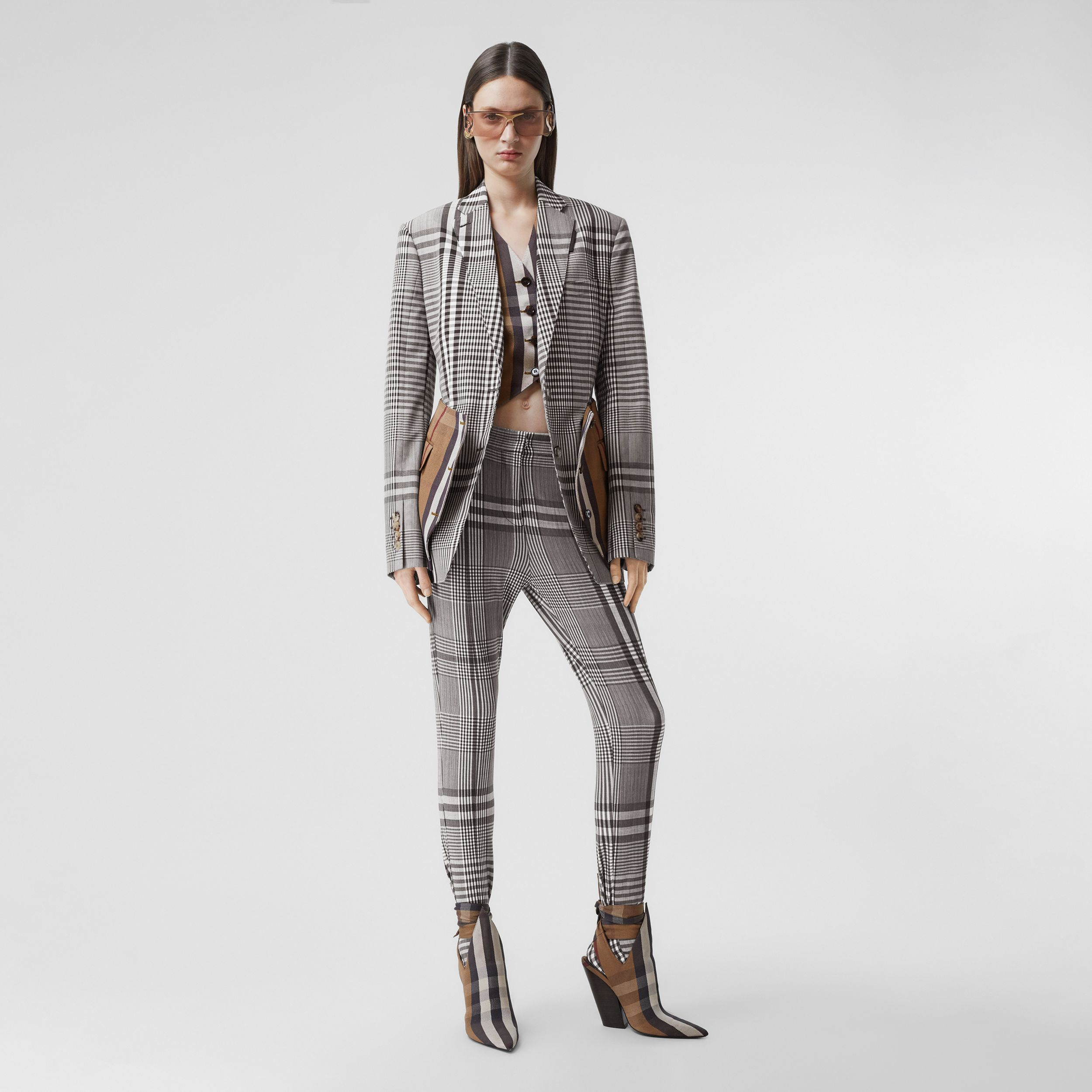 Basque Detail Check Technical Wool Tailored Jacket in Dark Brown - Women | Burberry - 1