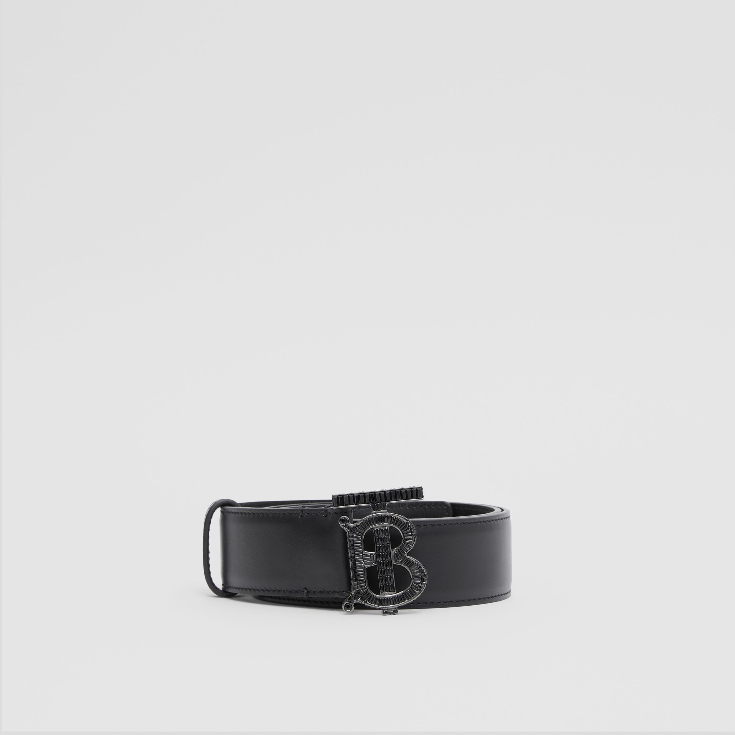 Crystal Monogram Motif Leather Belt in Black | Burberry - 4