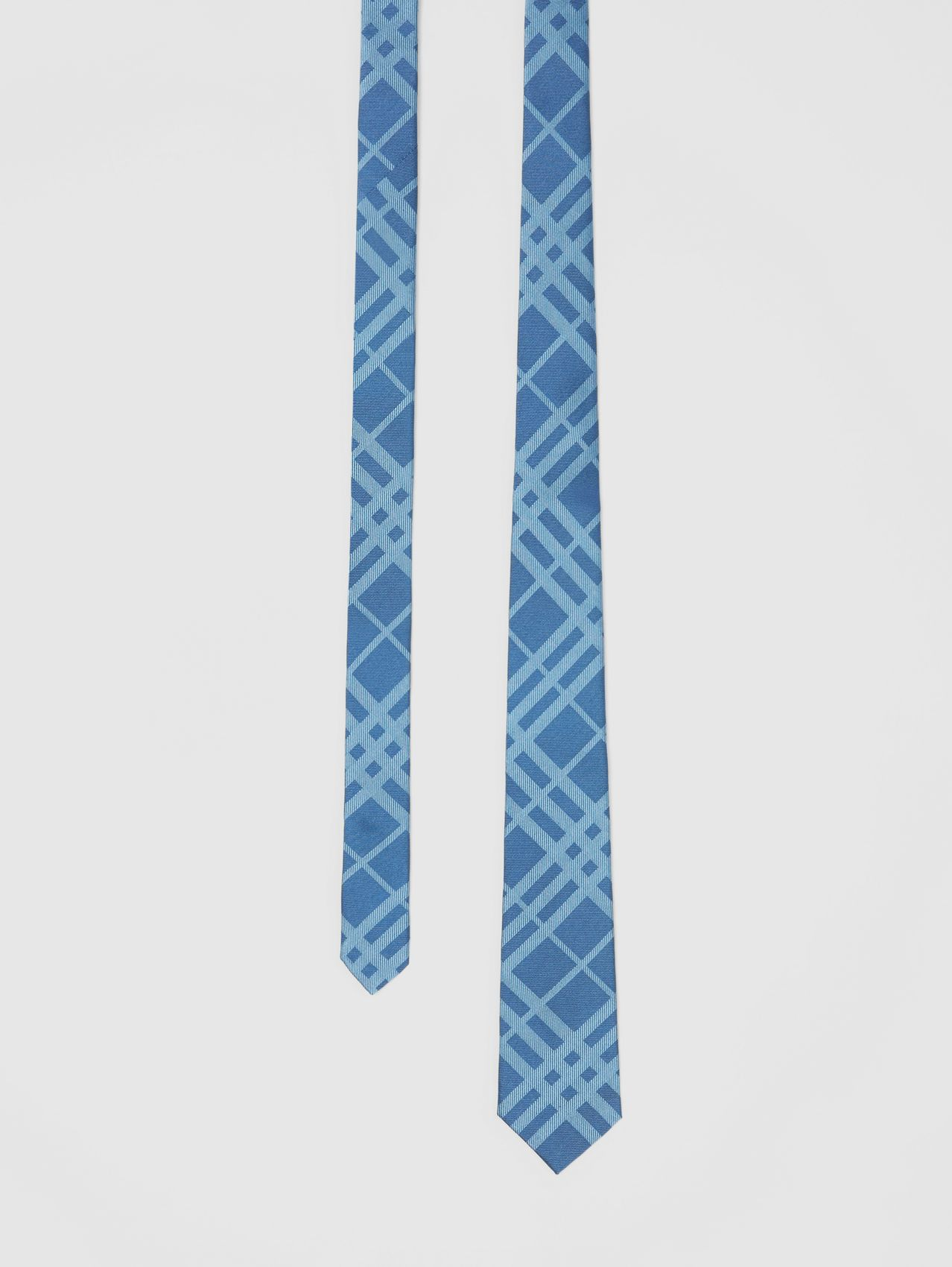 Classic Cut Check Silk Jacquard Tie in Blue Topaz