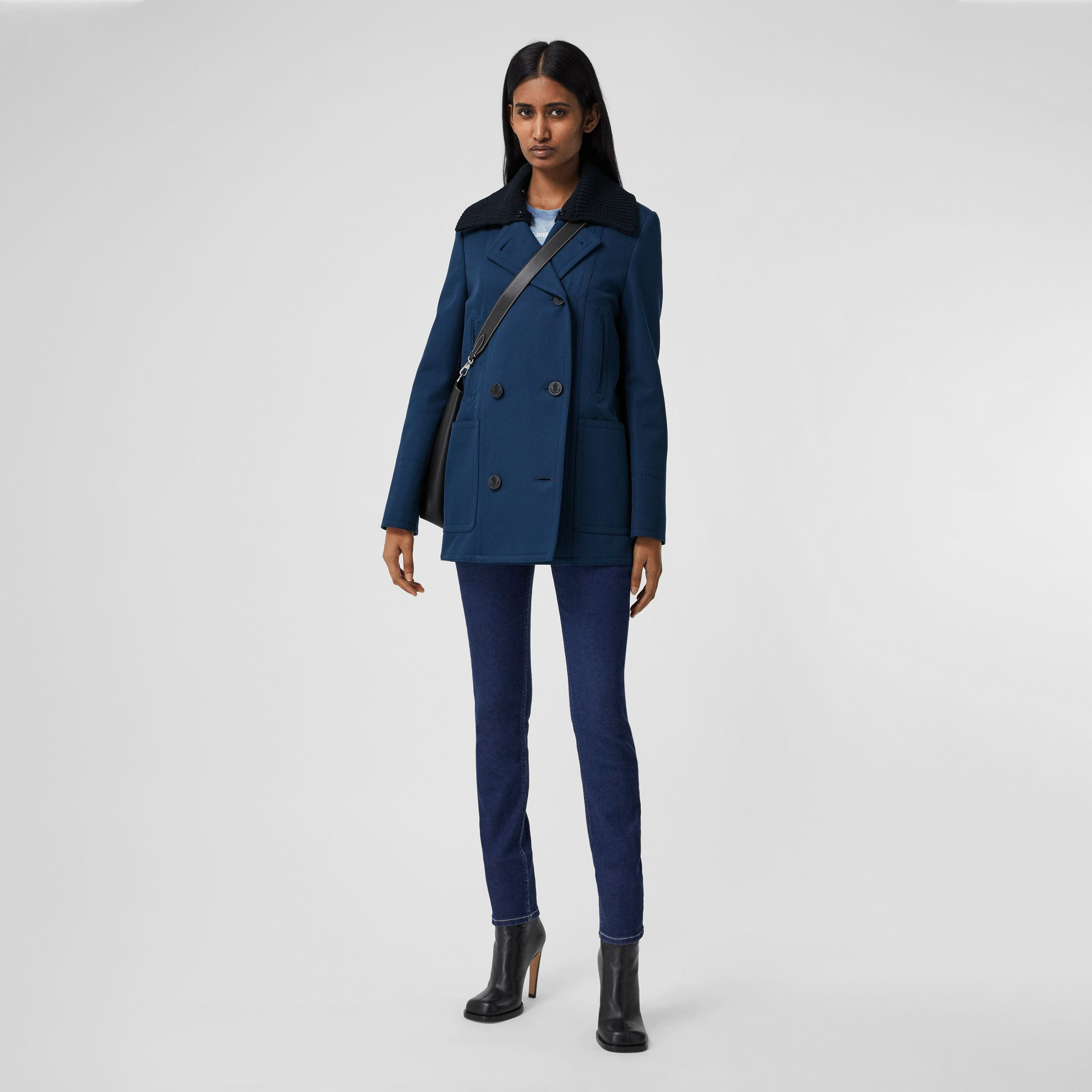 Detachable Rib Knit Collar Cotton Pea Coat in Ink Blue - Women | Burberry United Kingdom - 1