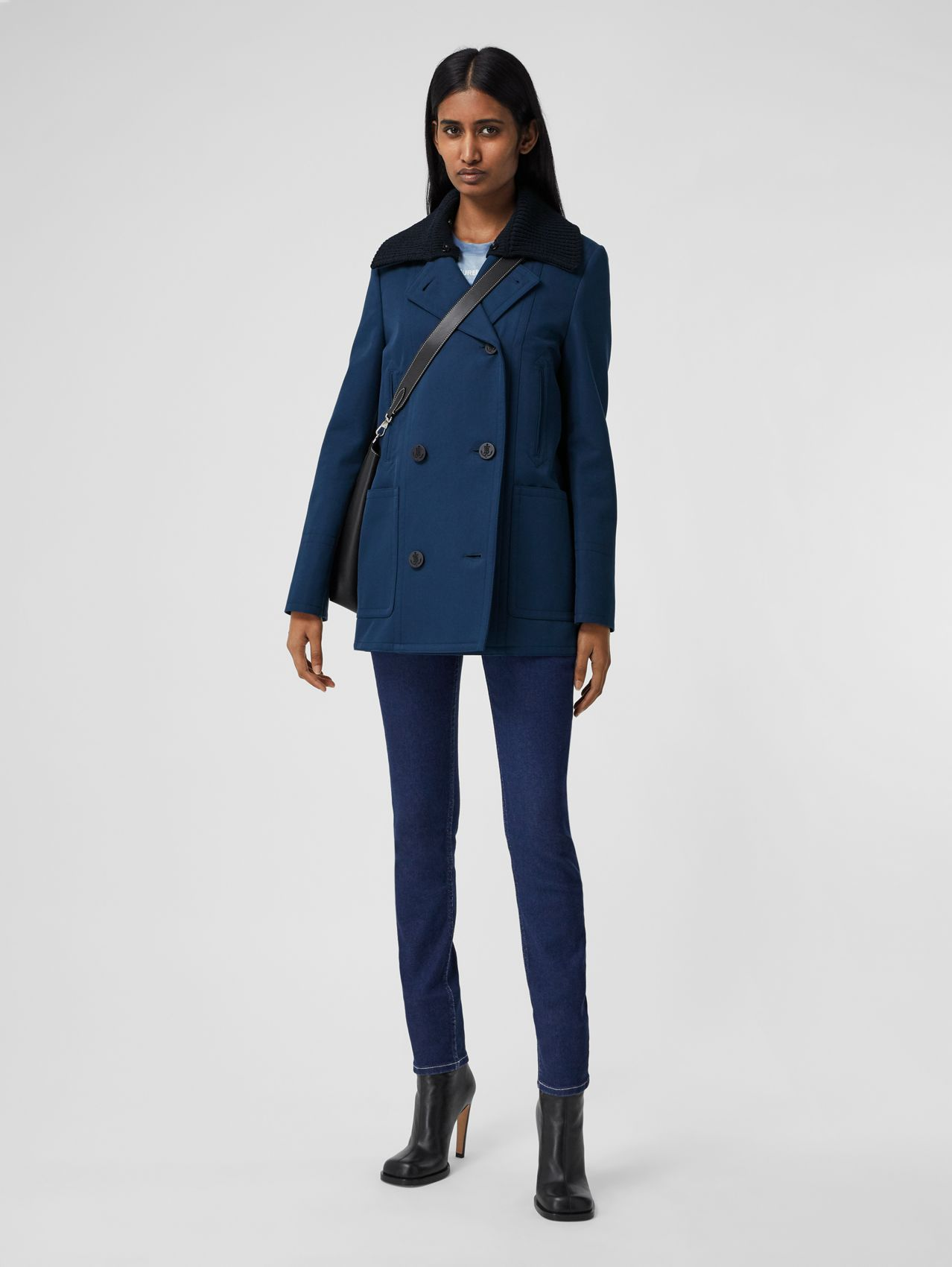 Detachable Rib Knit Collar Cotton Pea Coat in Ink Blue