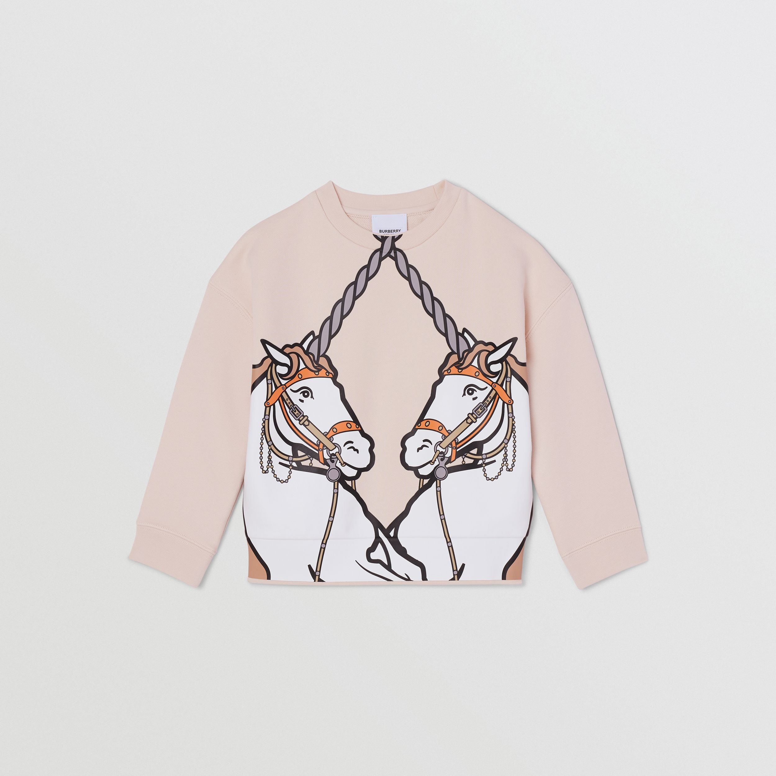 Unicorn Print Cotton Sweatshirt in Soft Pink | Burberry - 1