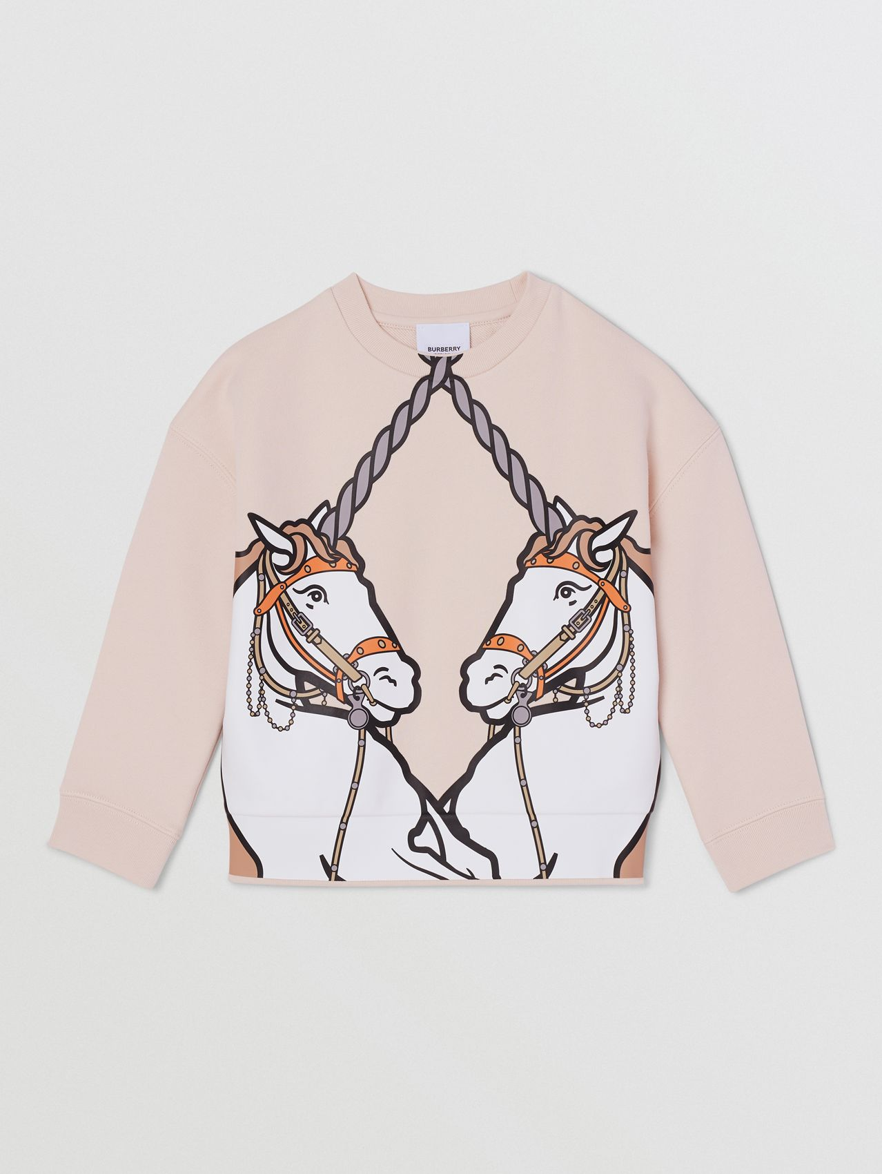 Unicorn Print Cotton Sweatshirt in Soft Pink
