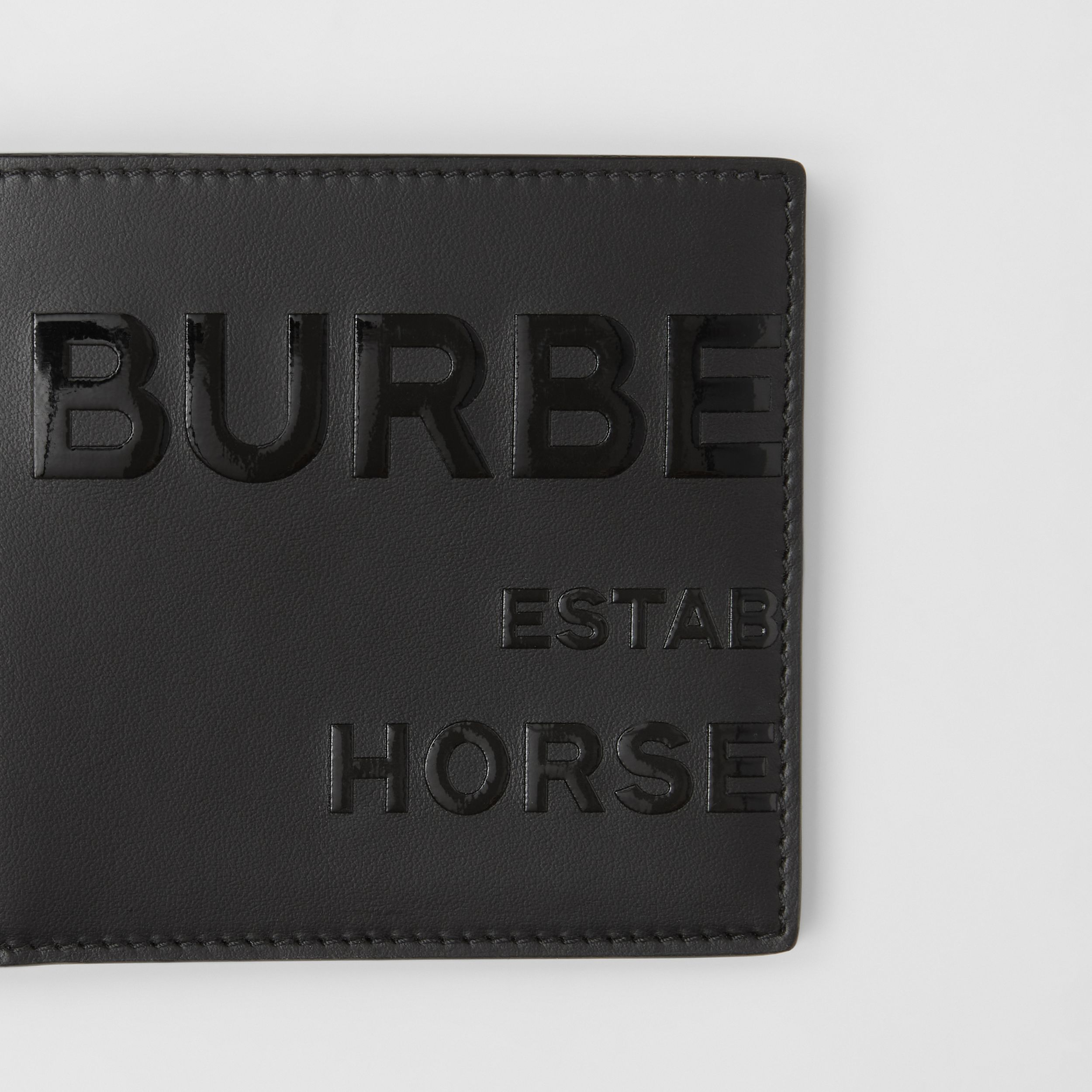 Horseferry Print Leather International Bifold Wallet in Black - Men | Burberry - 2