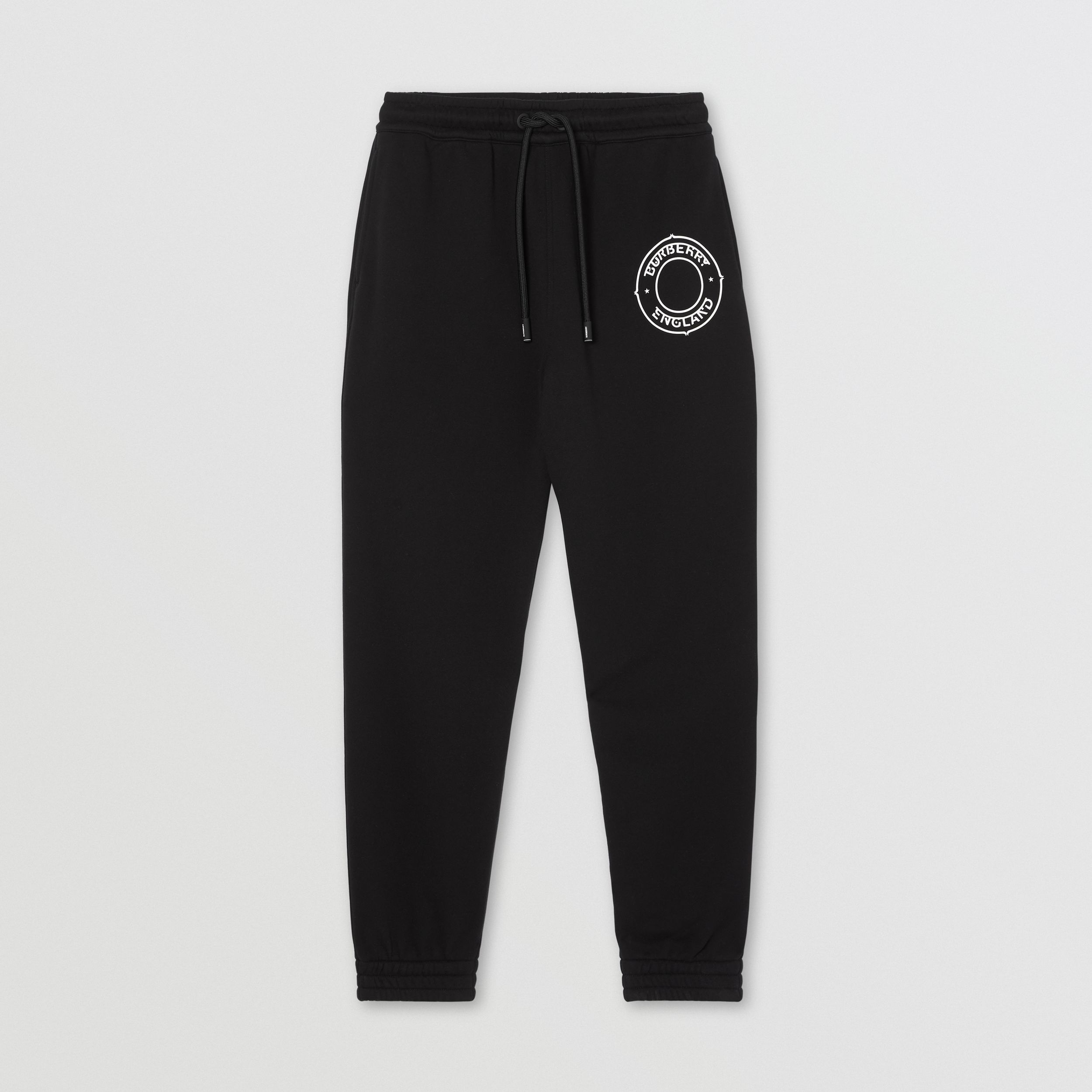 Logo Graphic Cotton Jogging Pants in Black - Men | Burberry - 4
