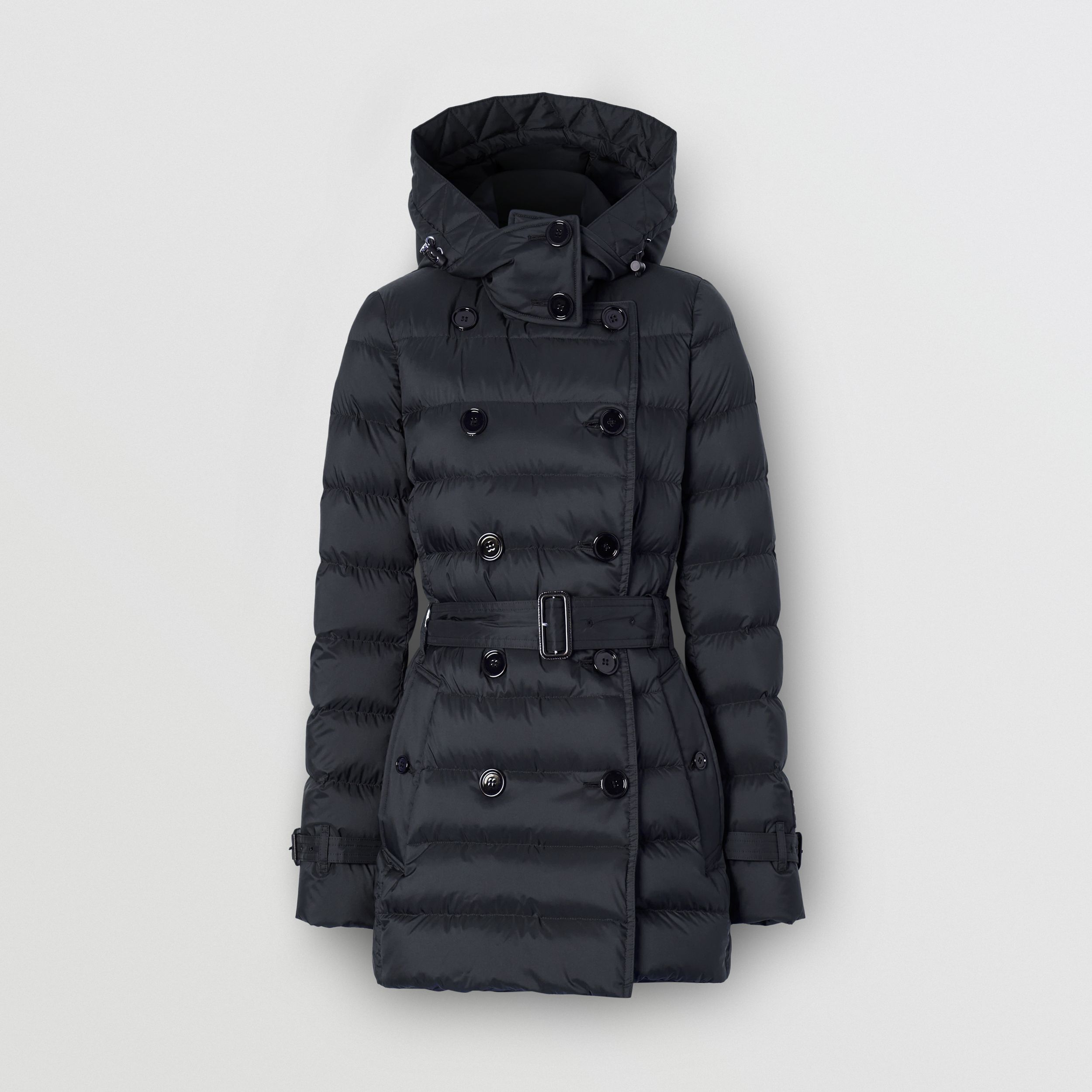 Logo Appliqué Detachable Hood Puffer Coat in Midnight Blue - Women | Burberry - 4