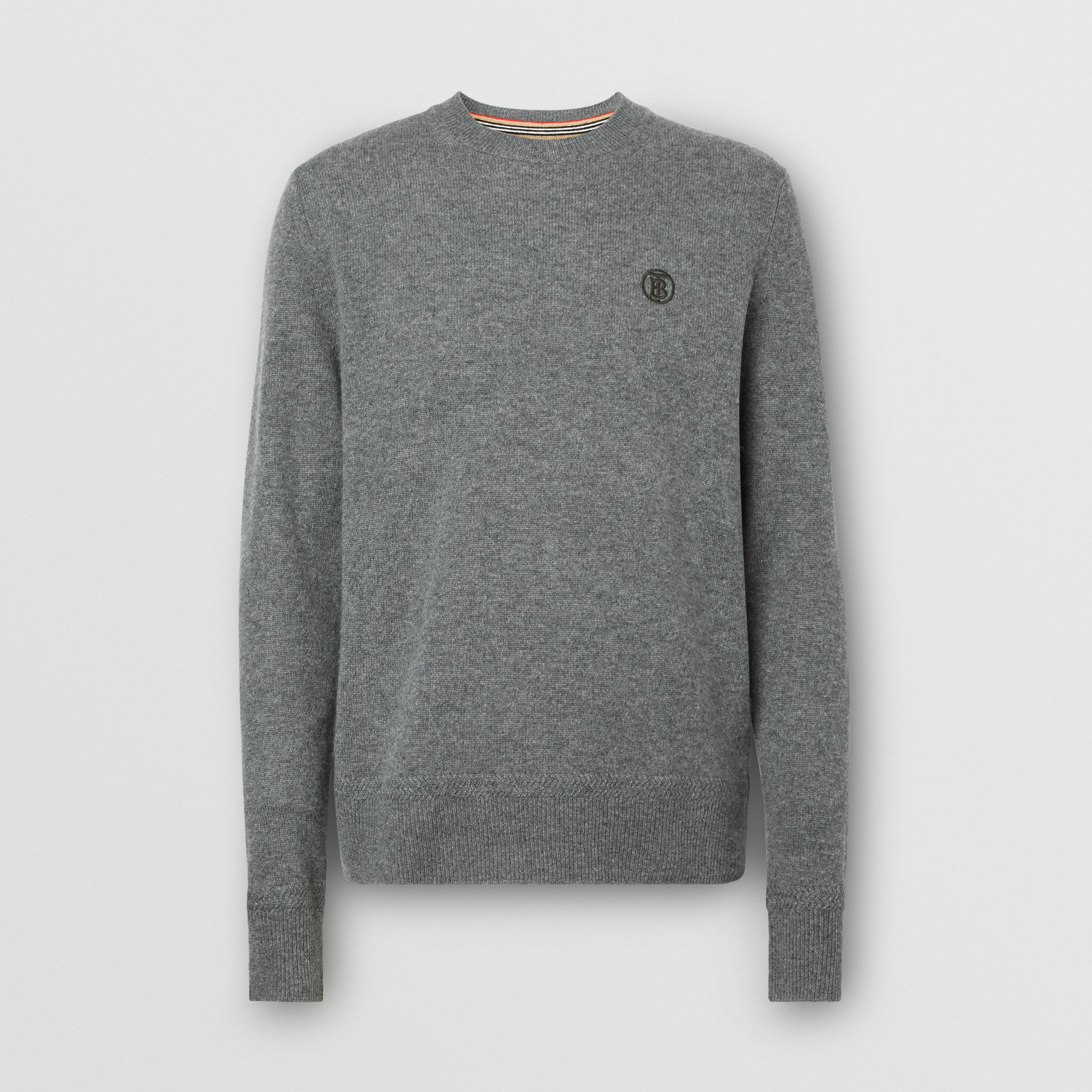 Monogram Motif Cashmere Sweater in Mid Grey Melange - Men | Burberry - 4