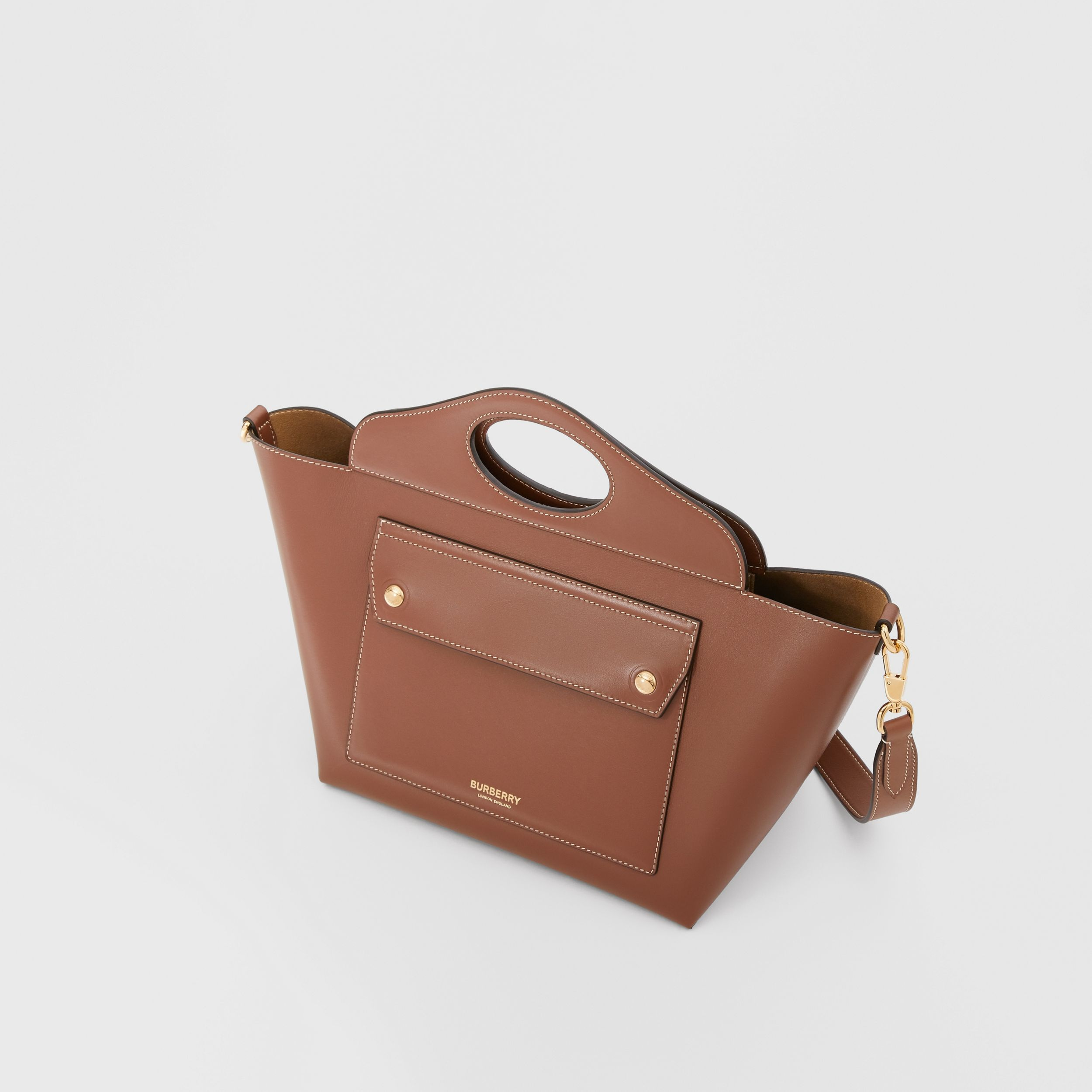 Mini Leather Soft Pocket Tote in Tan - Women | Burberry United Kingdom - 3