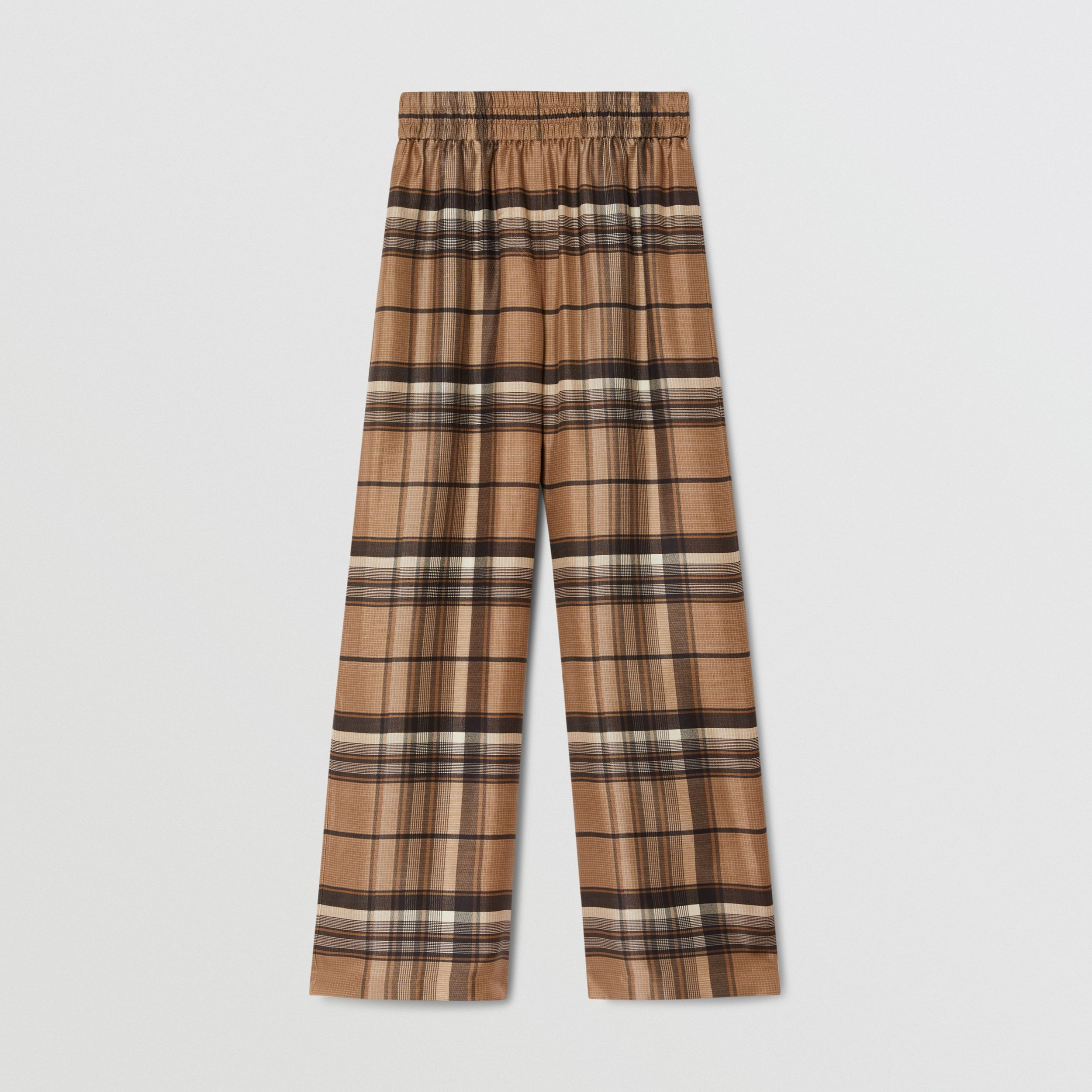 Check Print Silk Twill Wide-leg Trousers in Dark Tan - Women | Burberry - 4