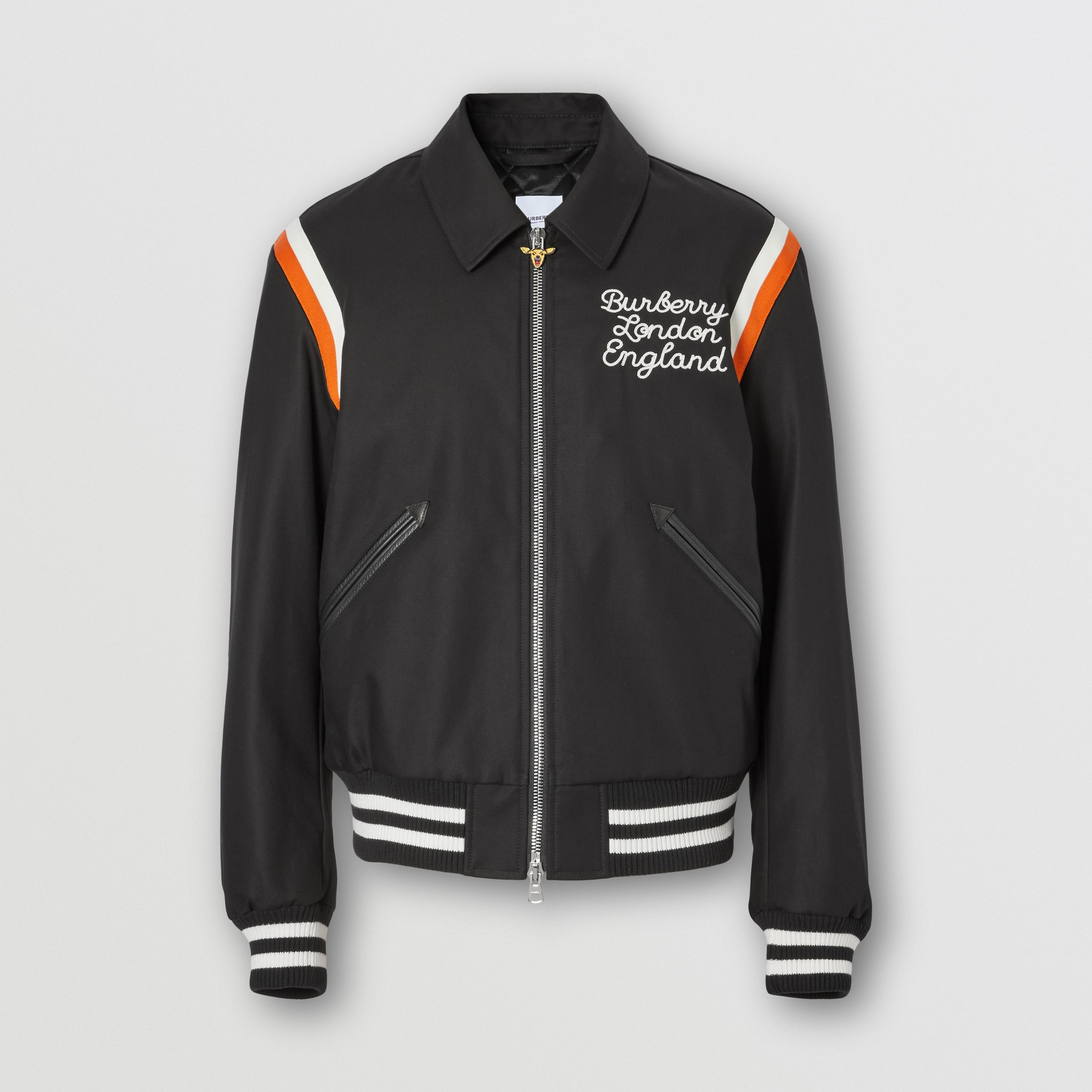 Embroidered Logo Cotton Gabardine Bomber Jacket in Black - Men | Burberry - 4