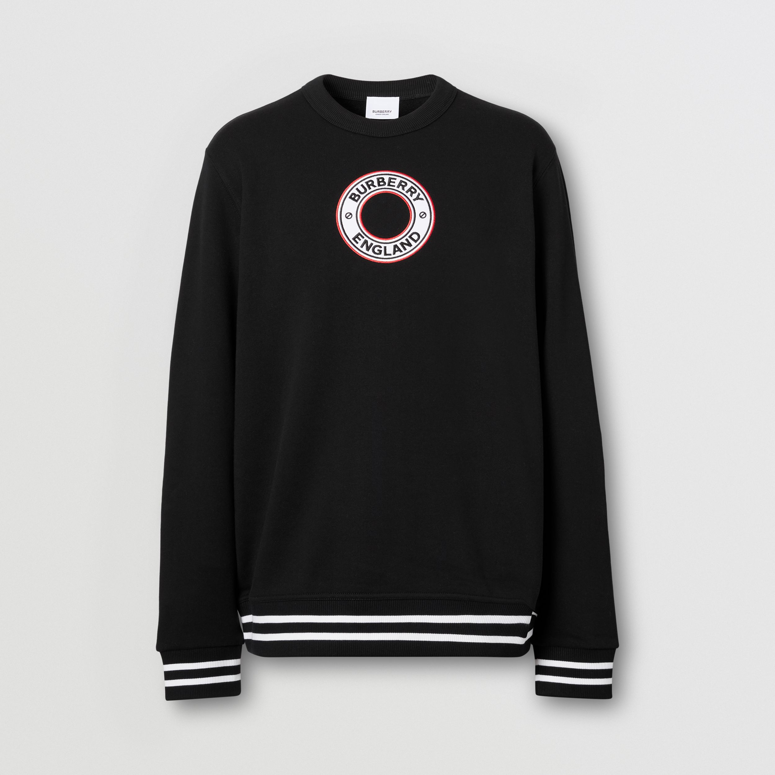 Logo Graphic Appliqué Cotton Sweatshirt in Black - Men | Burberry - 4