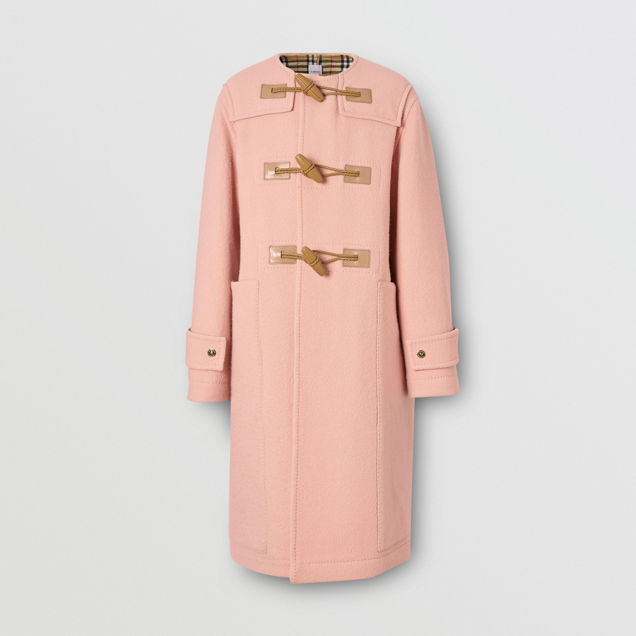 Vintage Check-lined Felted Wool Duffle Coat in Dusty Pink | Burberry - 3